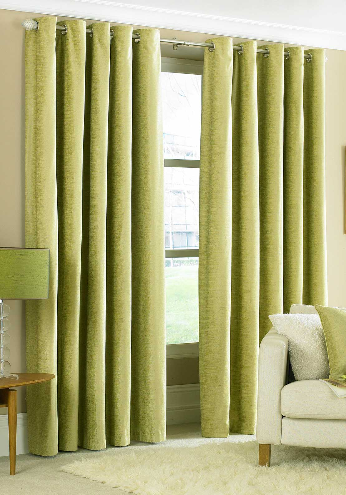 "The Curtain Factory Glenville Fully Lined Eyelet Heading Curtains 90 x 90"", Lime"