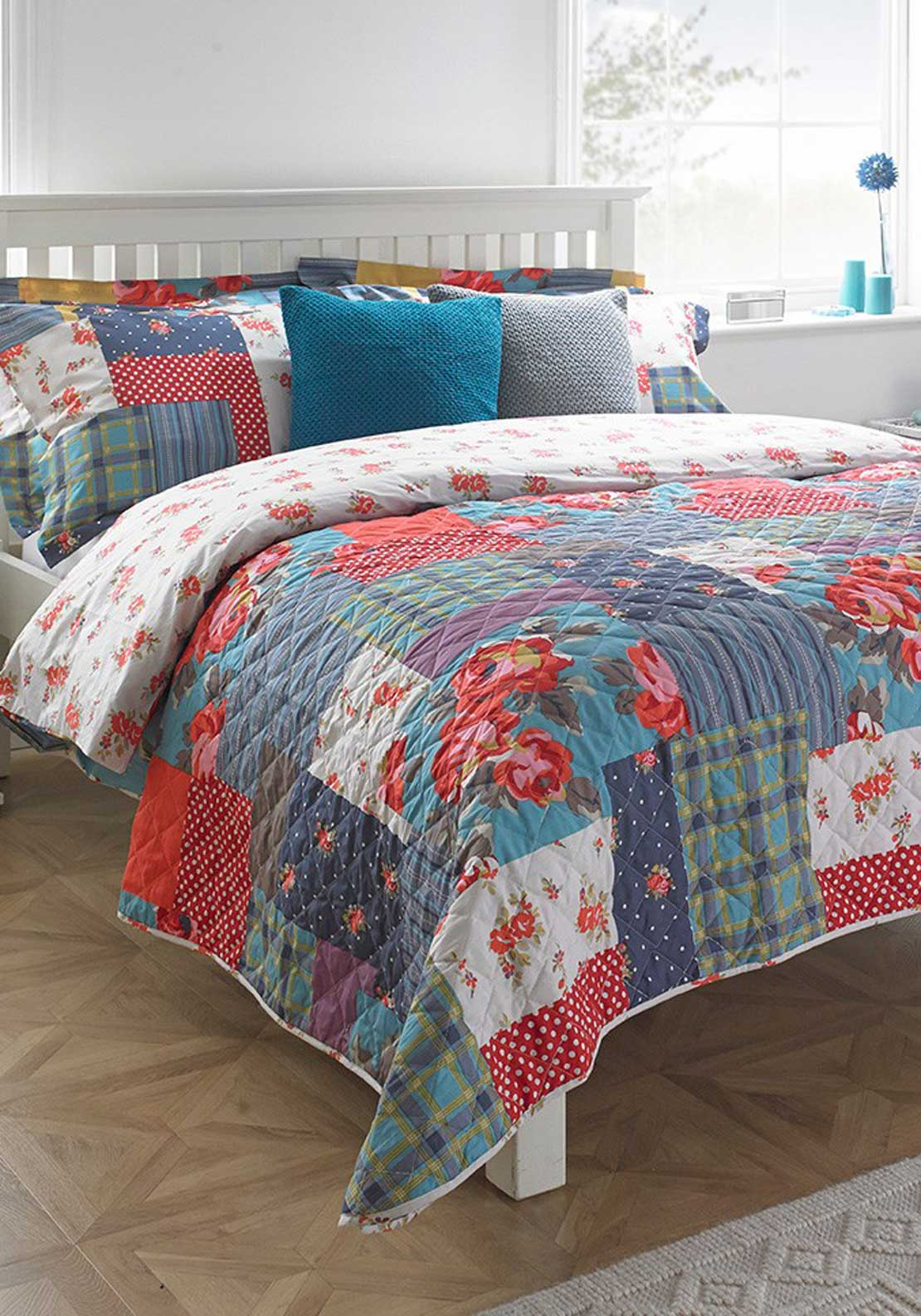 Paoletti Patch Work Quilted Bedspread 240 x 260cm, Red and Blue