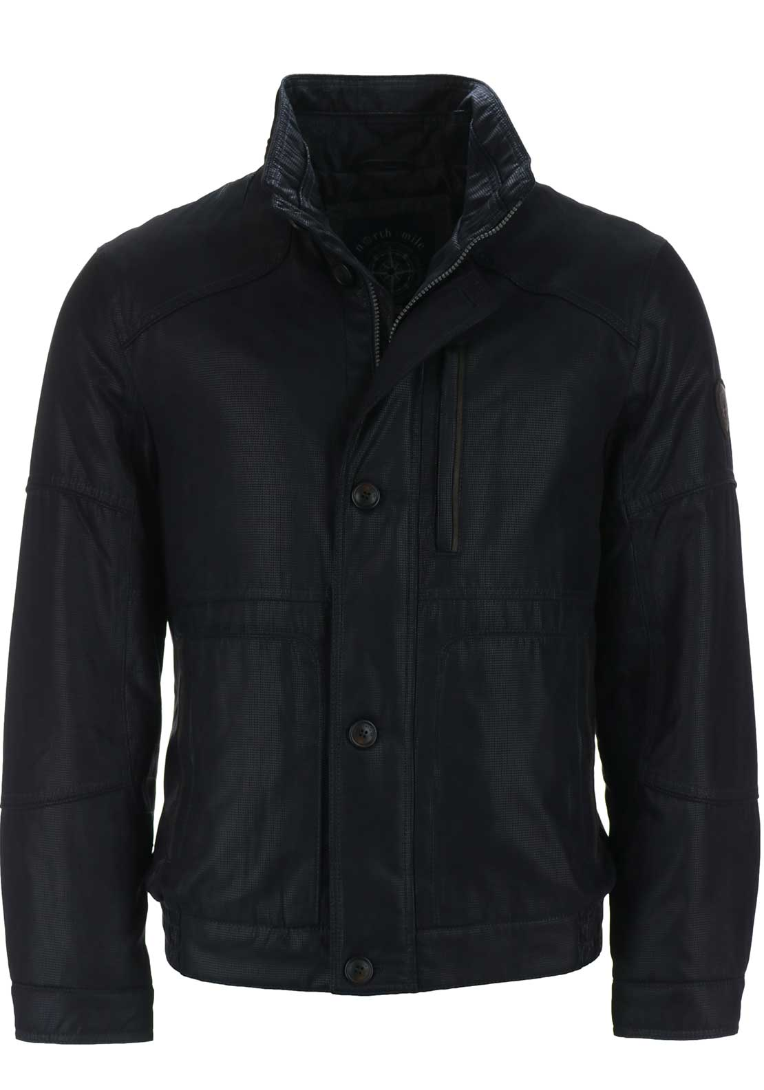 S4 Mens Juno Zip Through Textured Bomber Jacket, Navy