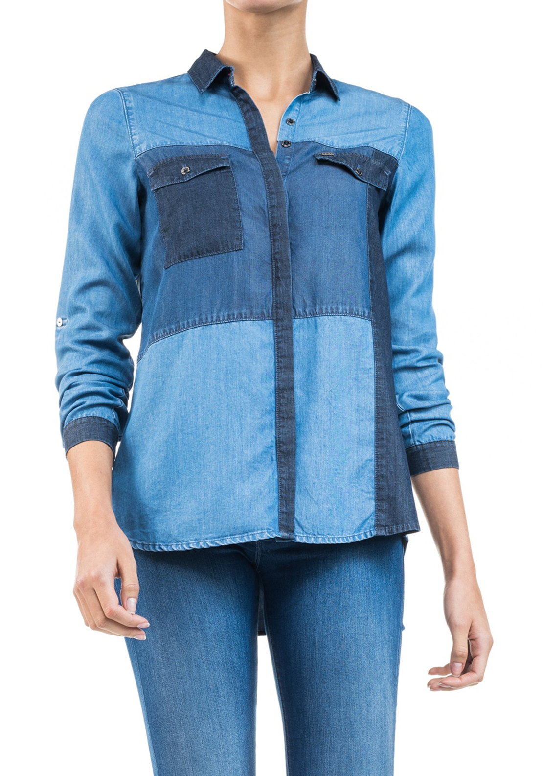Salsa Contrast Denim Shirt, Blue