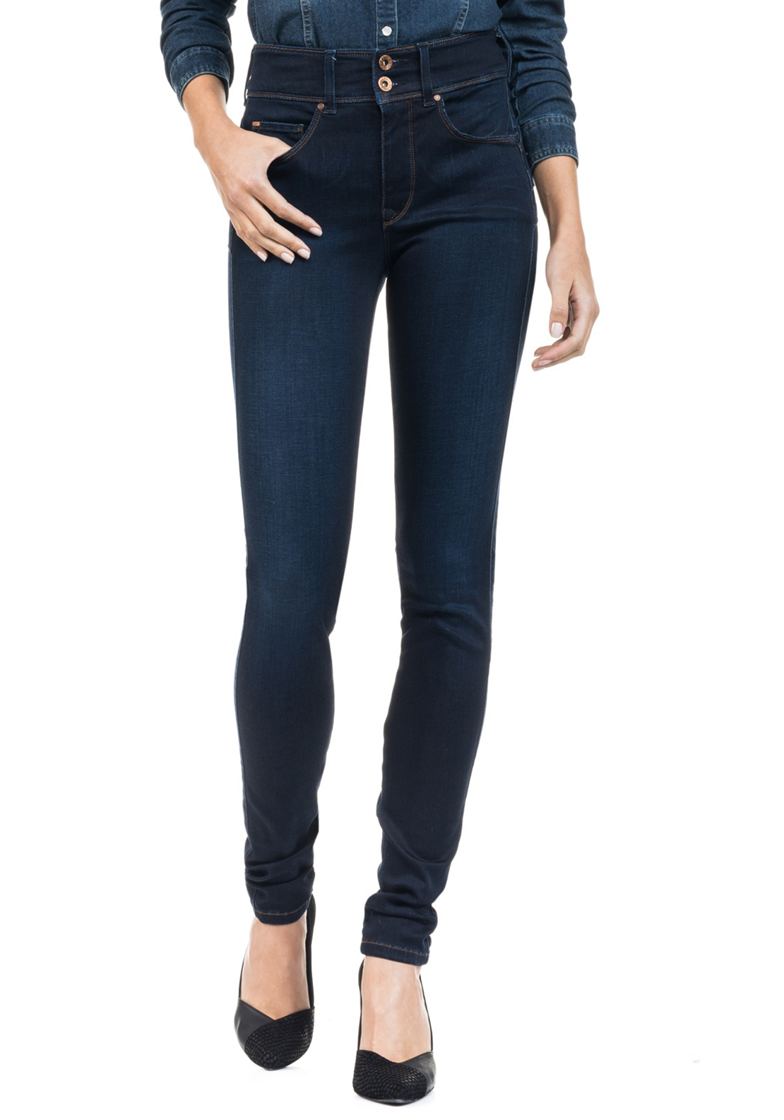Salsa Secret Soft Touch Push in Skinny Jeans, Dark Blue Denim