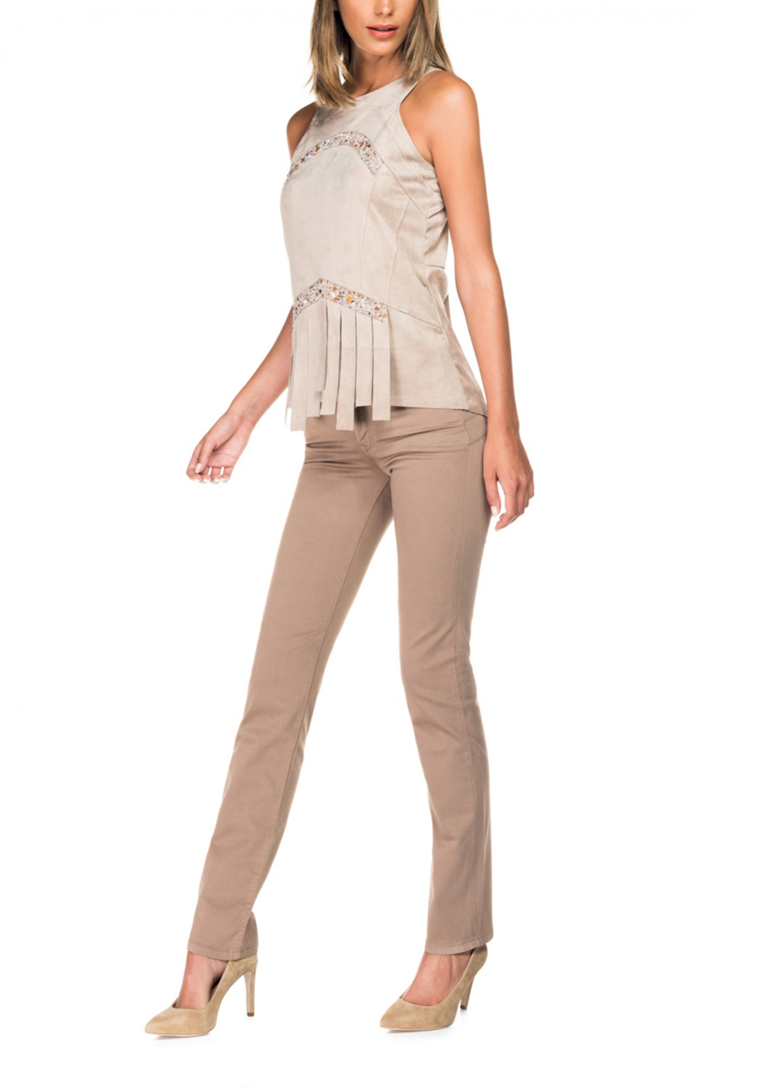 Salsa Secret Push in High Waist Slim Leg Trousers, Beige