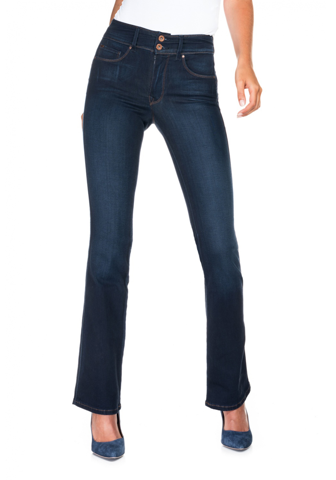 Salsa Secret Soft Touch Push in Bootcut Jeans, Dark Blue Denim