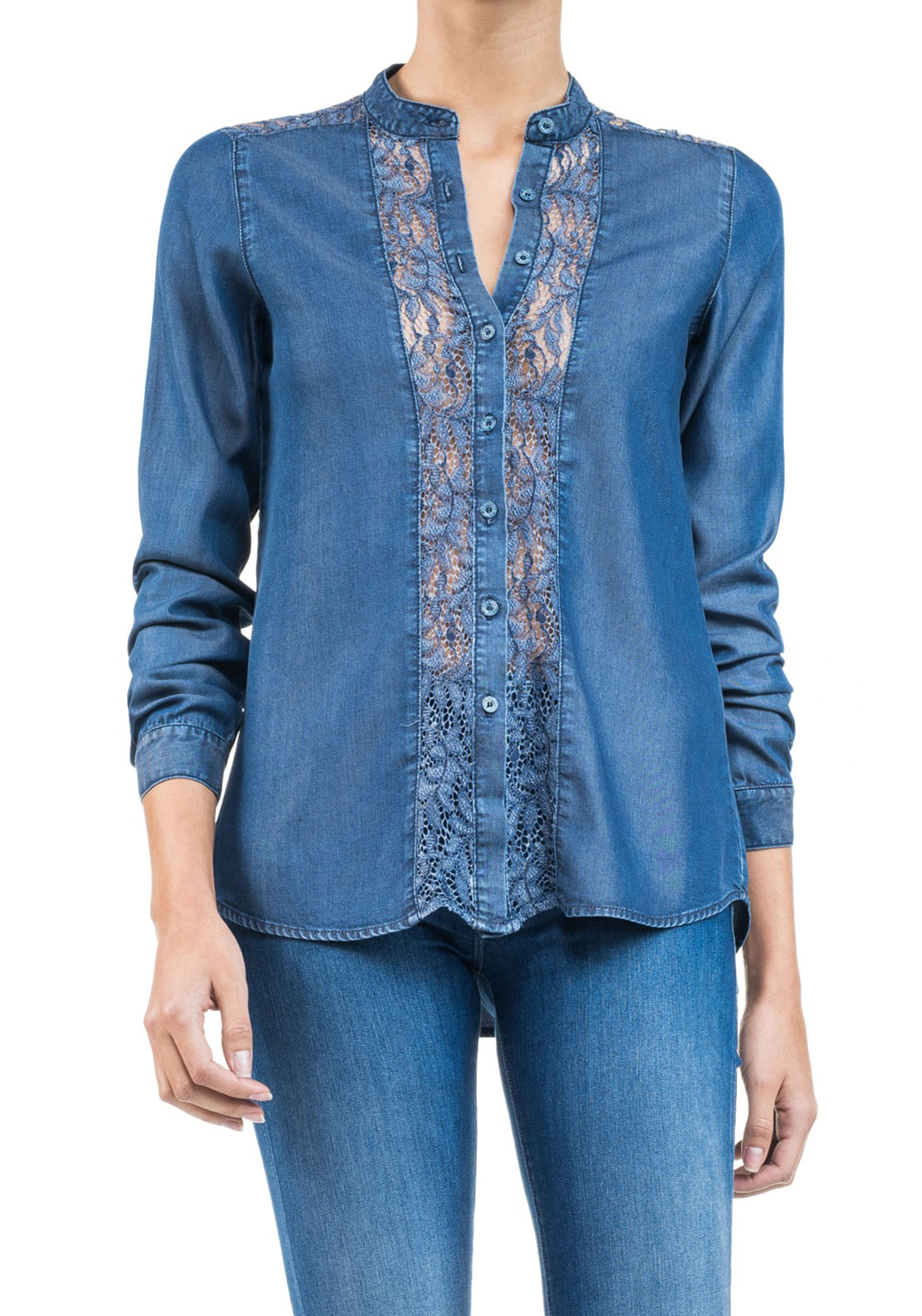 Salsa Lace Trim Denim Shirt, Blue