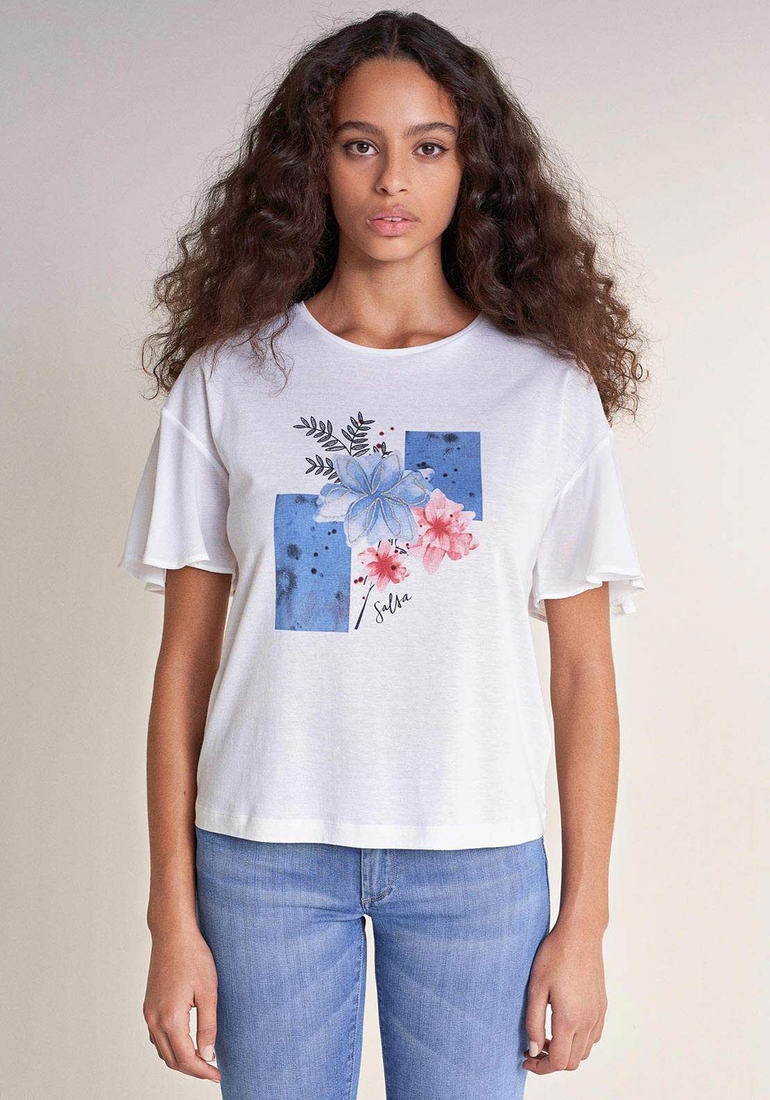 Salsa Floral Graphic Bell Sleeve T-Shirt, White