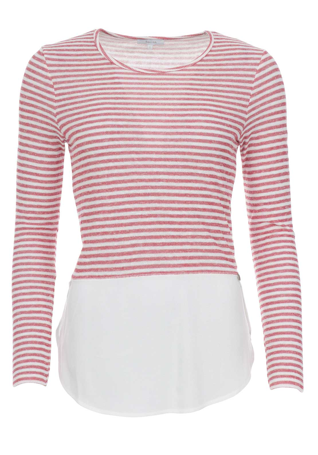 Salsa Striped Contrast Sweater, Red