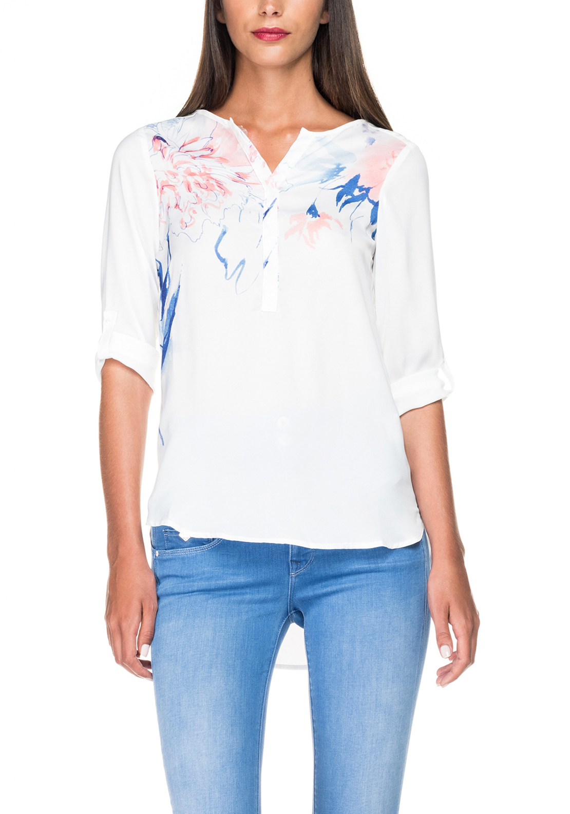 Salsa Floral Print Satin Tunic Top, White
