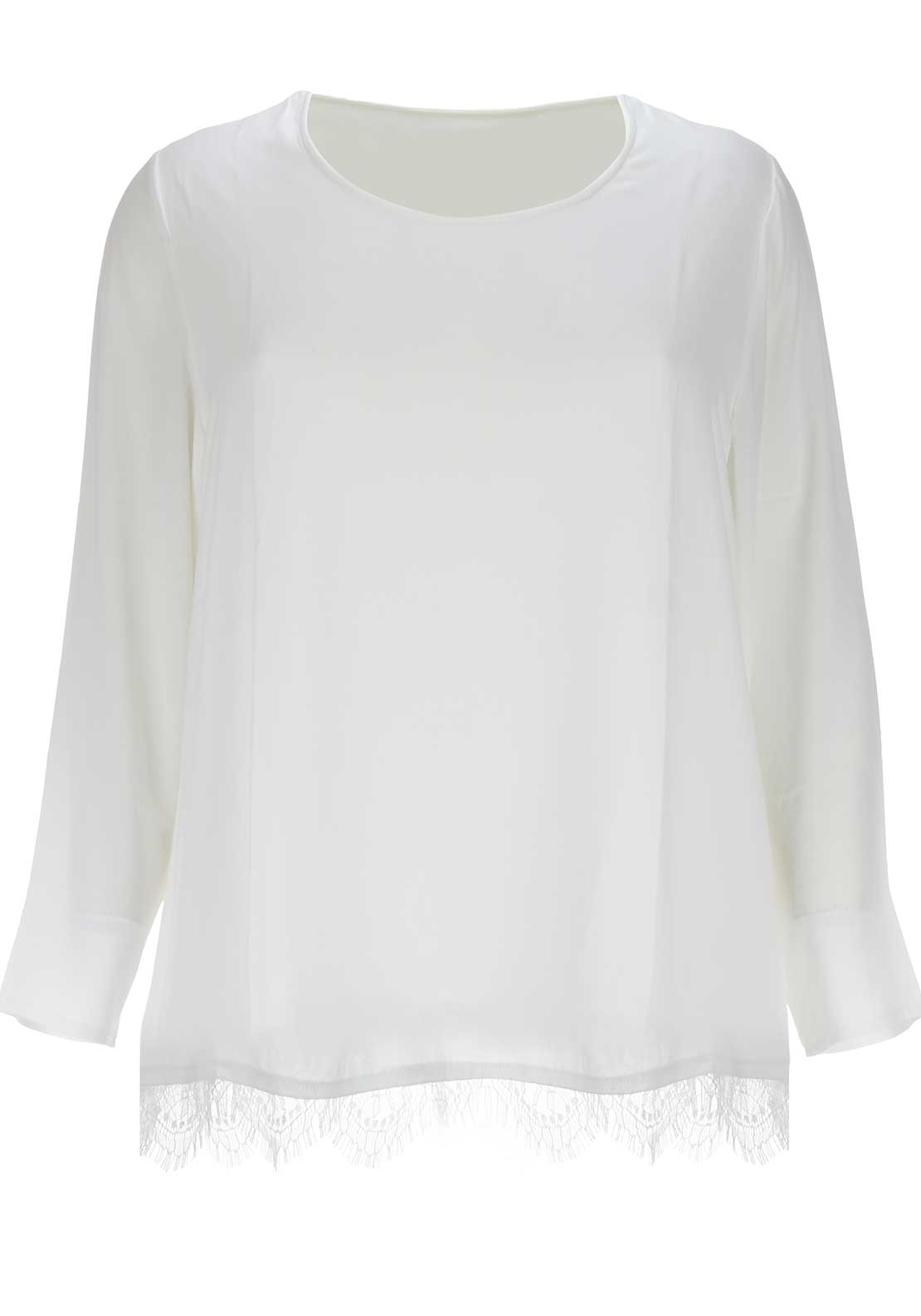 Samoon Lace Trim Top, White