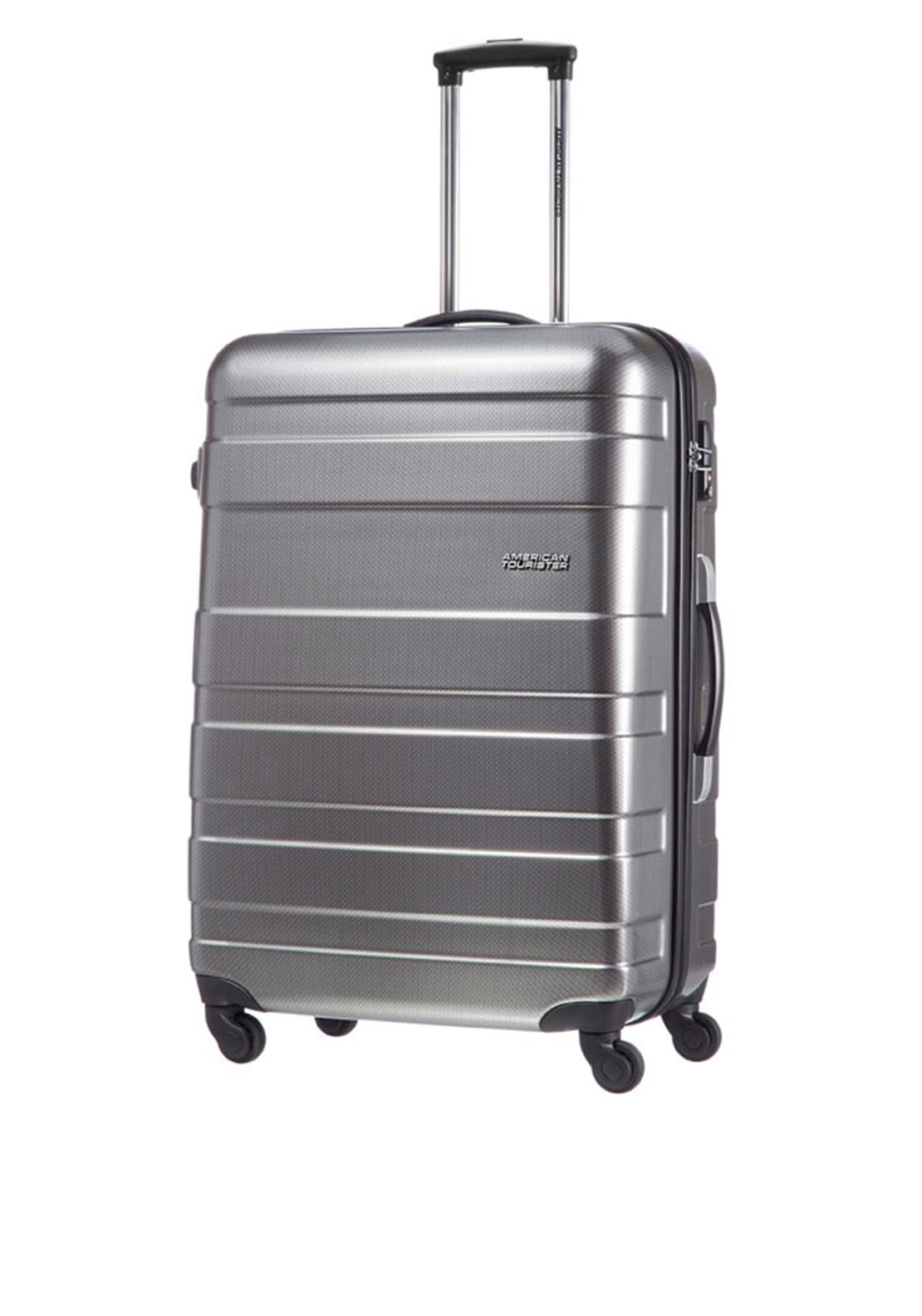 American Tourister Pasadena Spinner Large 77cm Suitcase, Check Black and Silver
