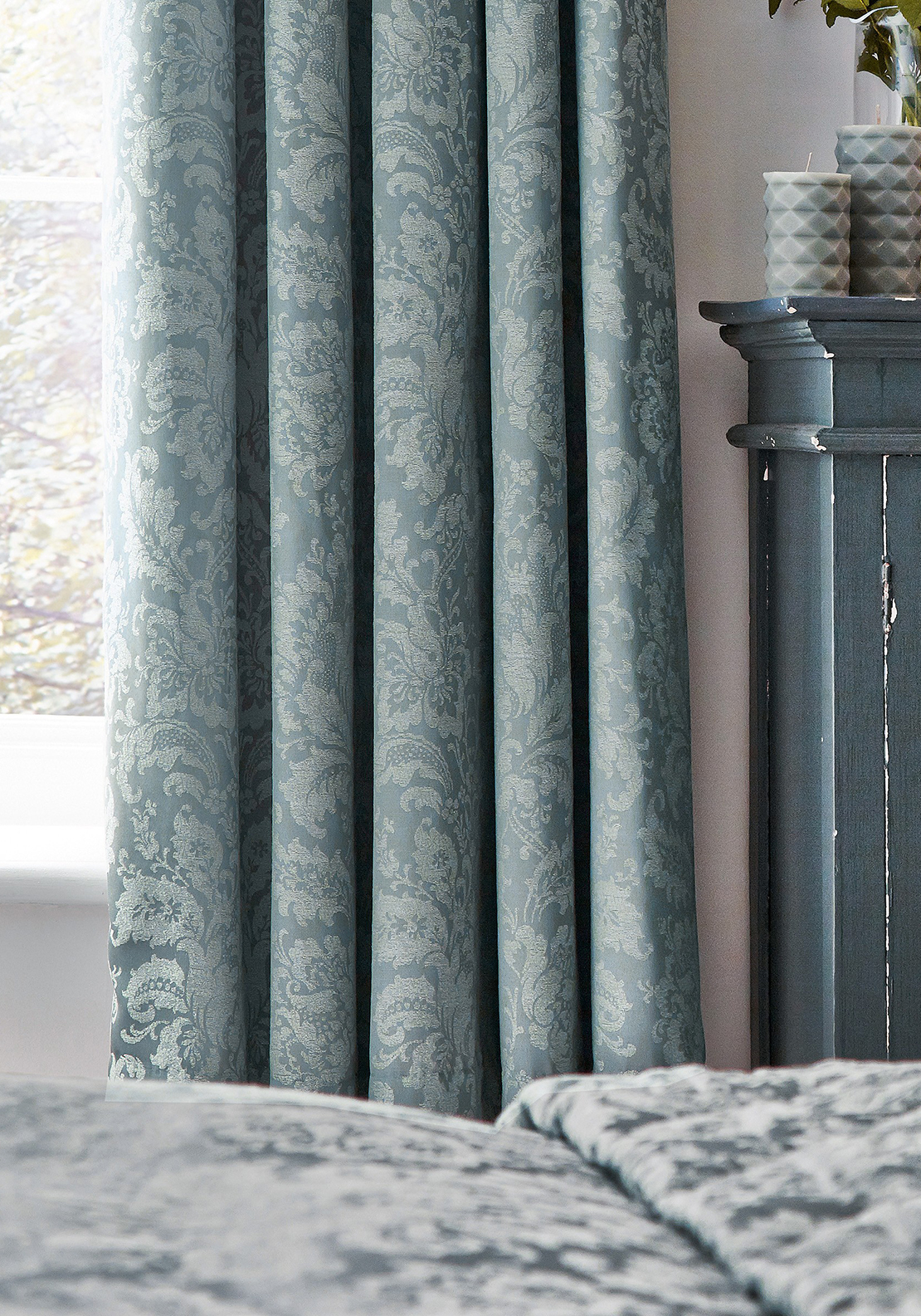 Sanderson Floriella Curtains Slate Blue