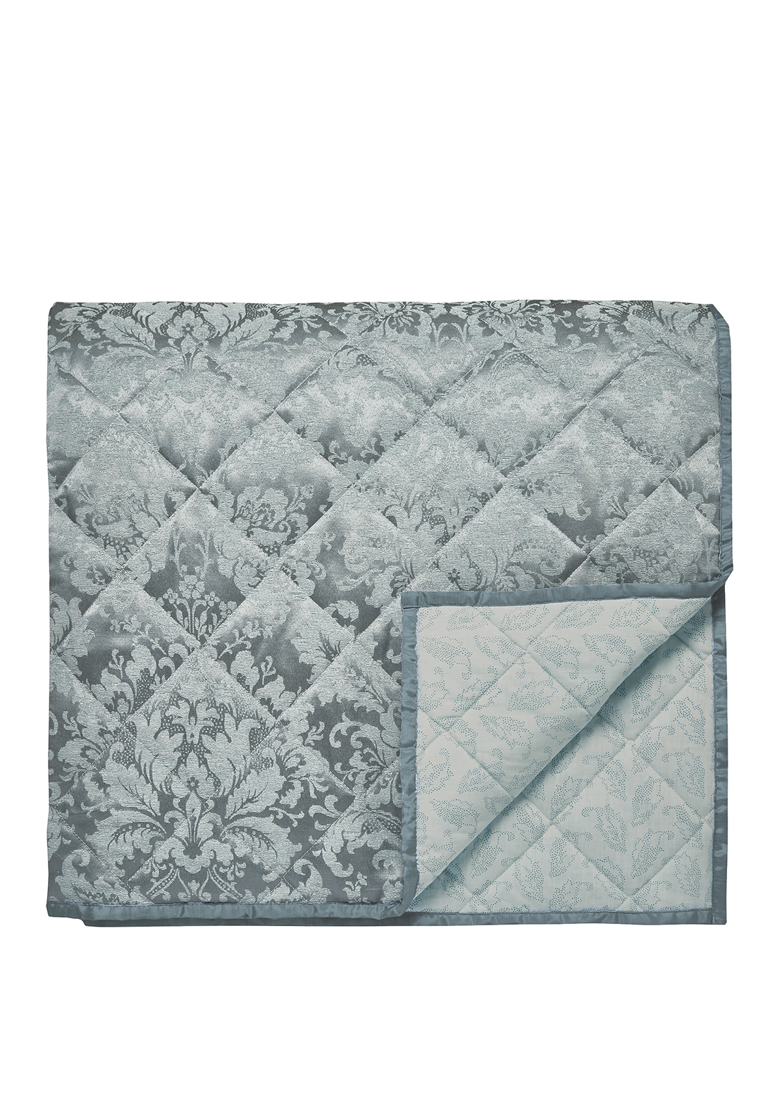 Sanderson Floriella Quilted Throw Slate Blue Double/King