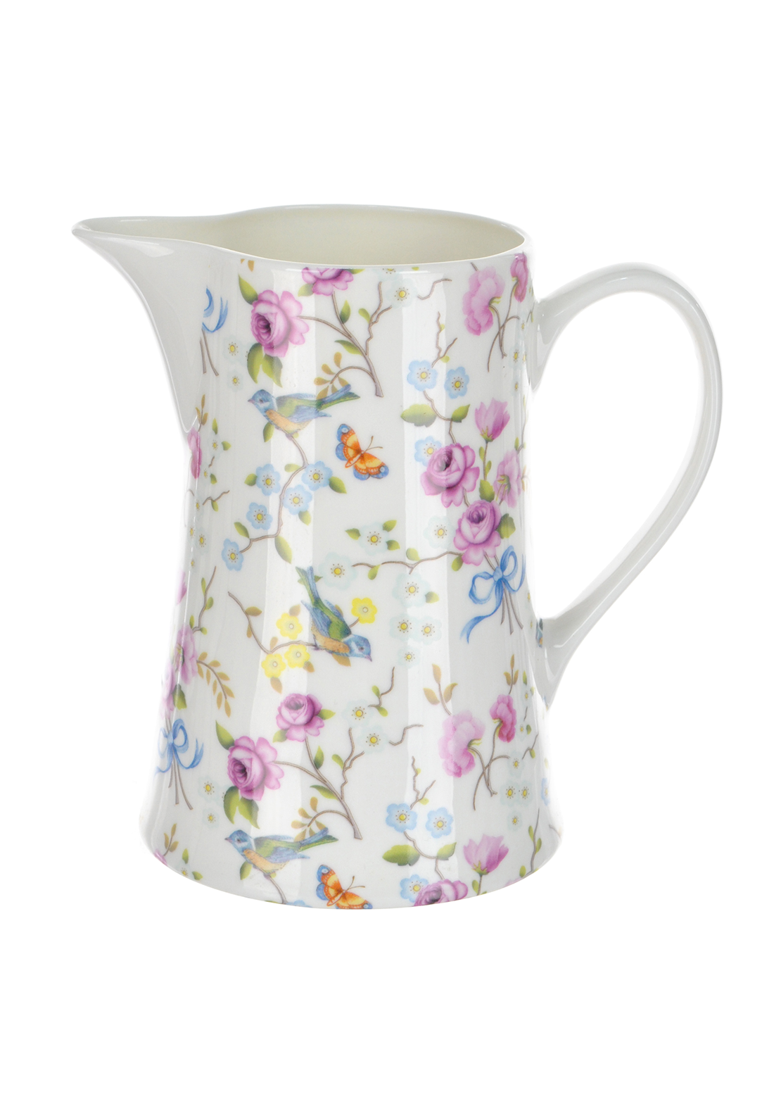 Shannon Bridge Ireland Bird Blossom Pint Jug, White/Multi Floral Print