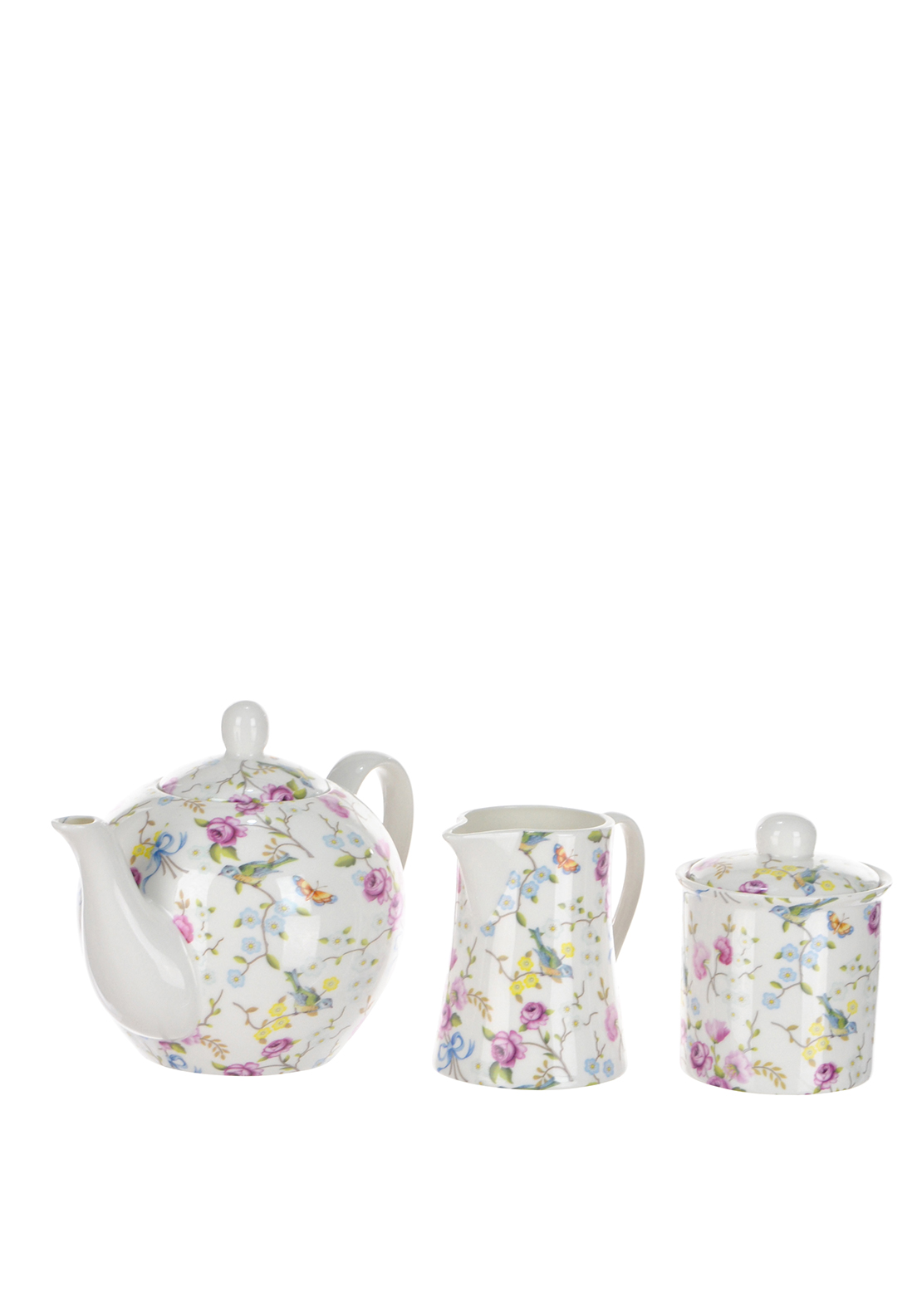 Shannonbridge Ireland Bird Blossom 3 Piece Tea Set
