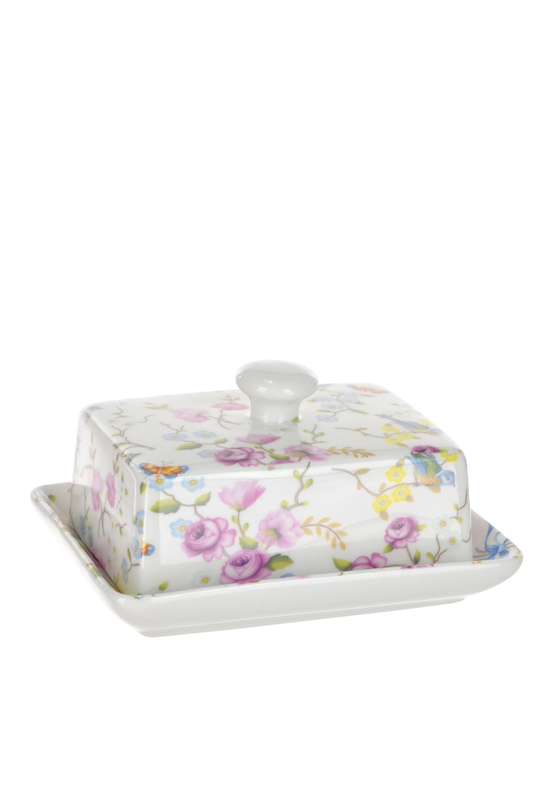 Shannon Bridge Ireland Bird Blossom Butter Dish, White/Multi Floral Print