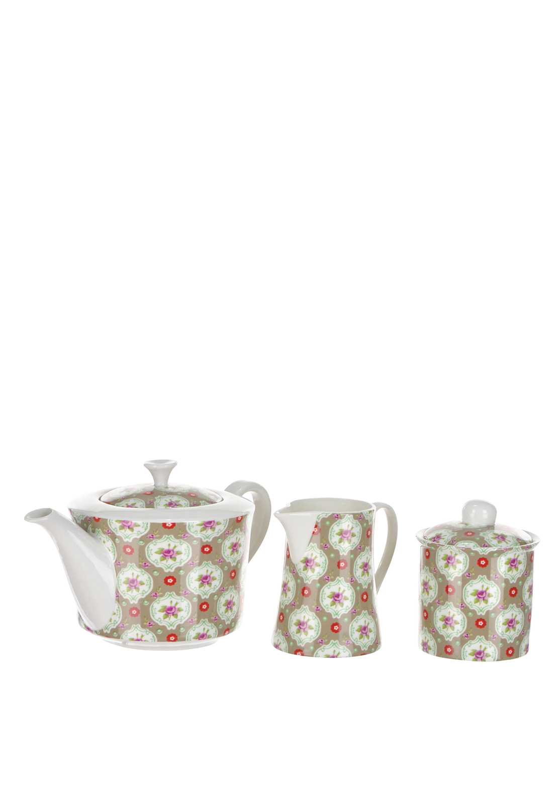 Shannon Bridge Ireland Buds 3 Piece Tea Set, White/Multi floral Design