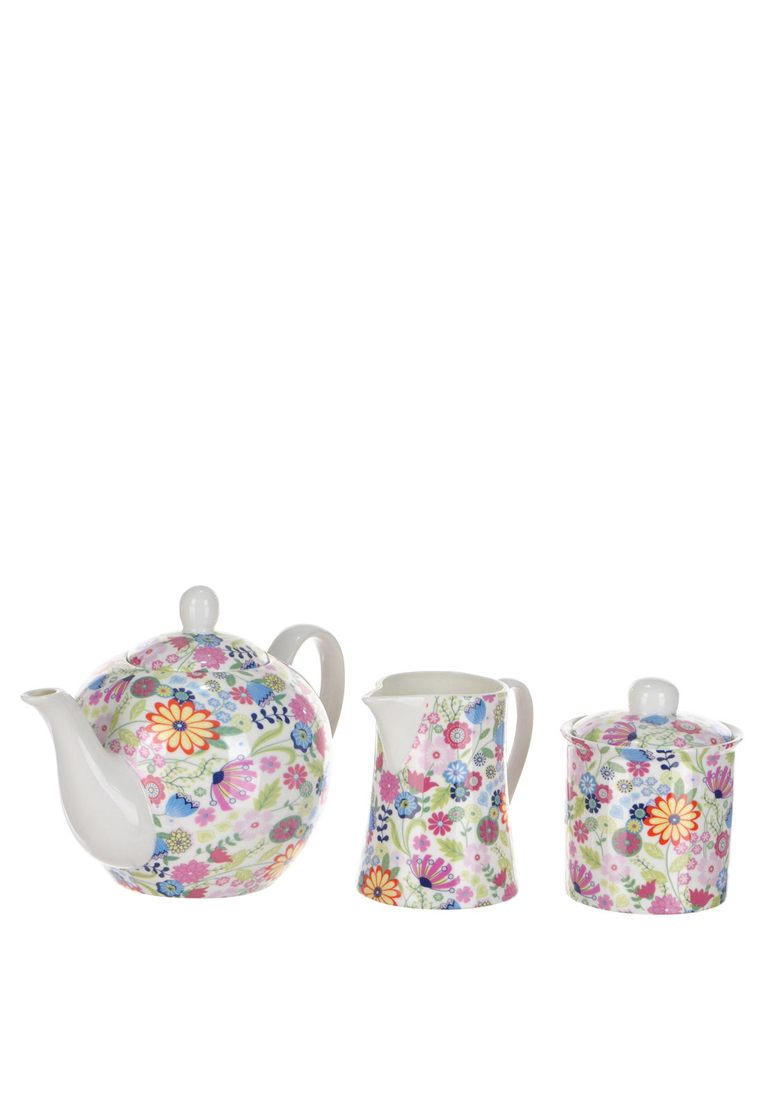 Shannon Bridge Ireland Ditsy Flowery 3 Piece Tea Set, White/Multi floral Design