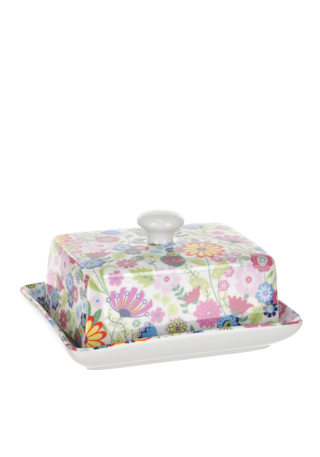 Shannon Bridge Ireland Ditsy Flowery Butter Dish, White/Multi floral Design