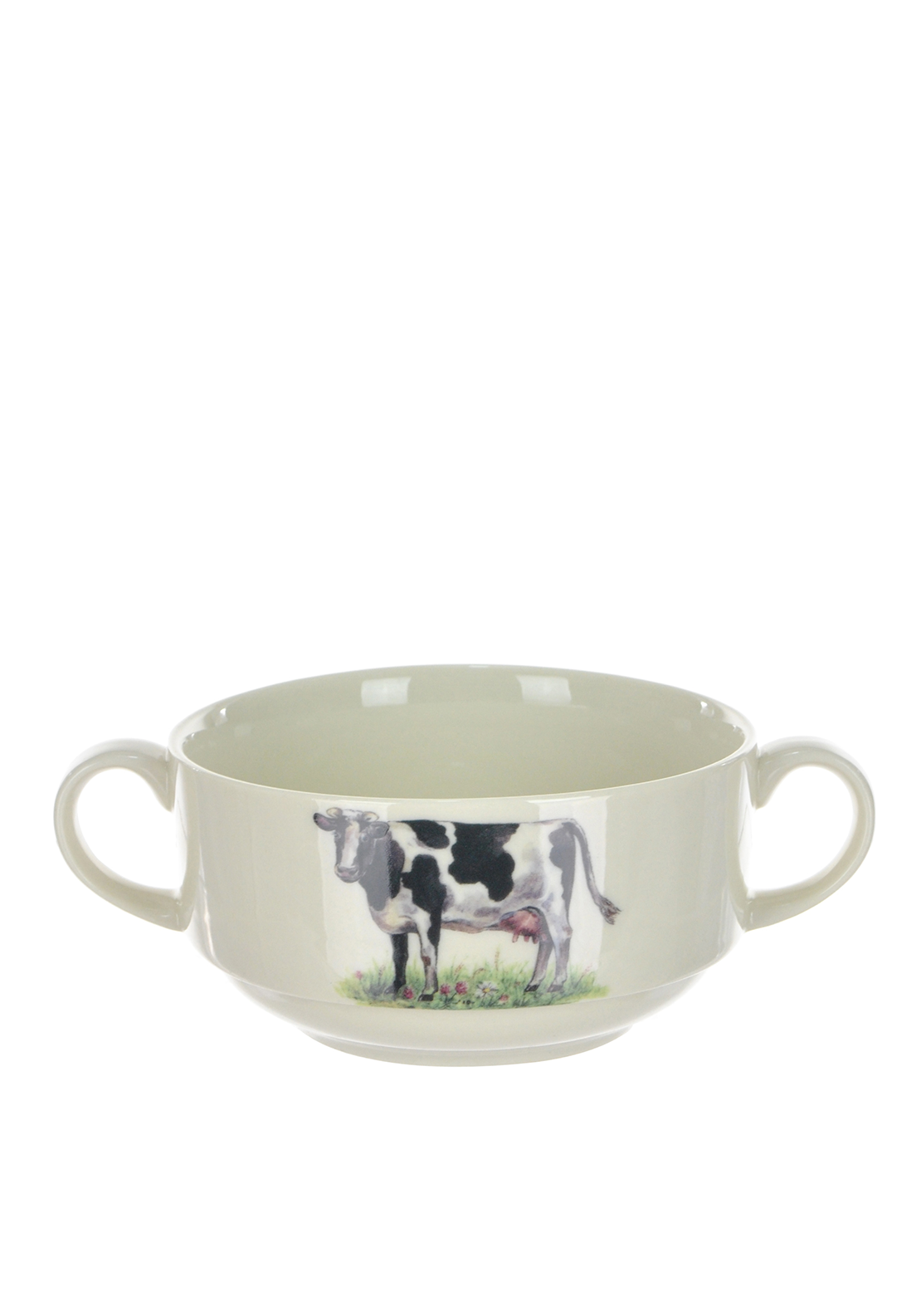 Shannonbridge Ireland Farm Cow Handled Soup Bowl with Matching Plate