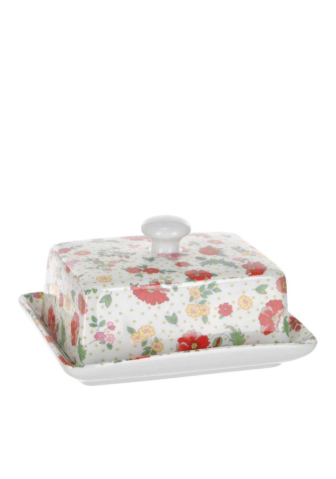 Shannon Bridge Ireland Miss Poppie Butter Dish, White/Multi floral