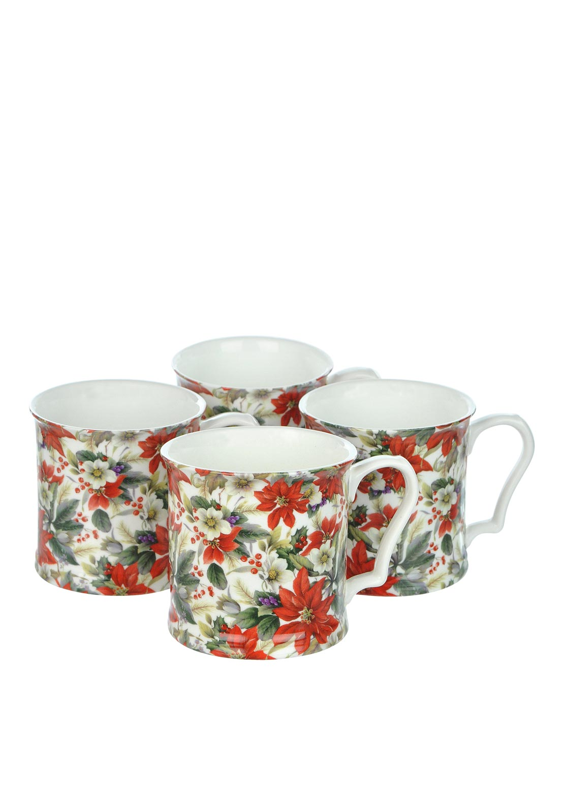 Shannonbridge Poinsettia Four Piece Mug Set