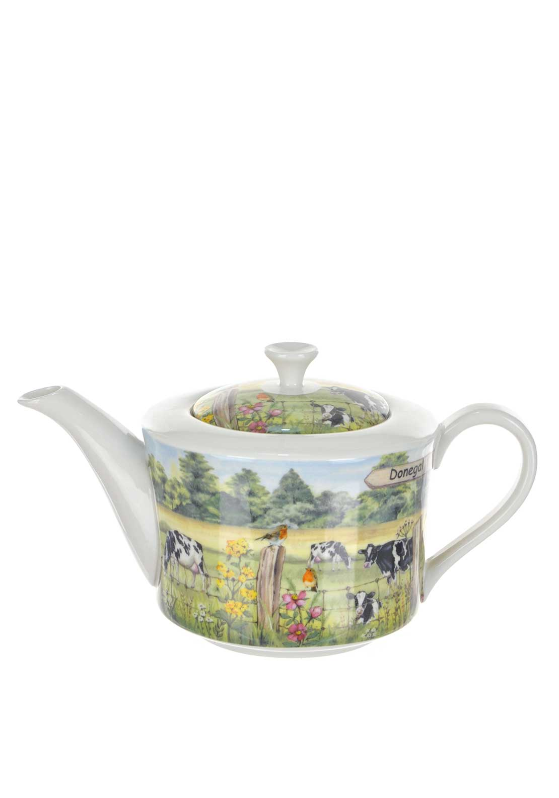 Shannonbridge Ireland Signpost 4 Cup Farm Cow Teapot, Green Multi