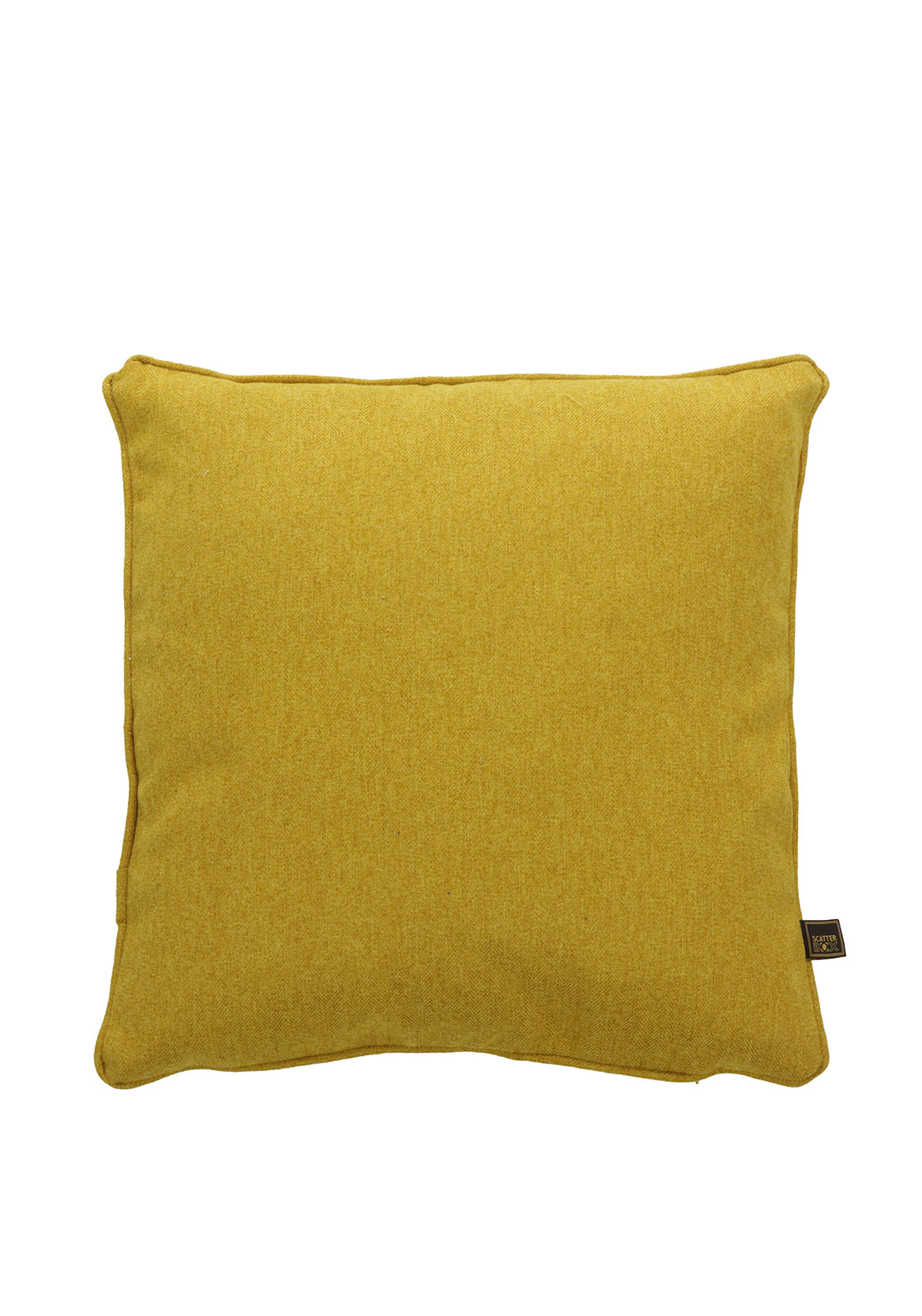 Scatterbox Herringbone Tweed Cushion 43 x 43cm, Mustard