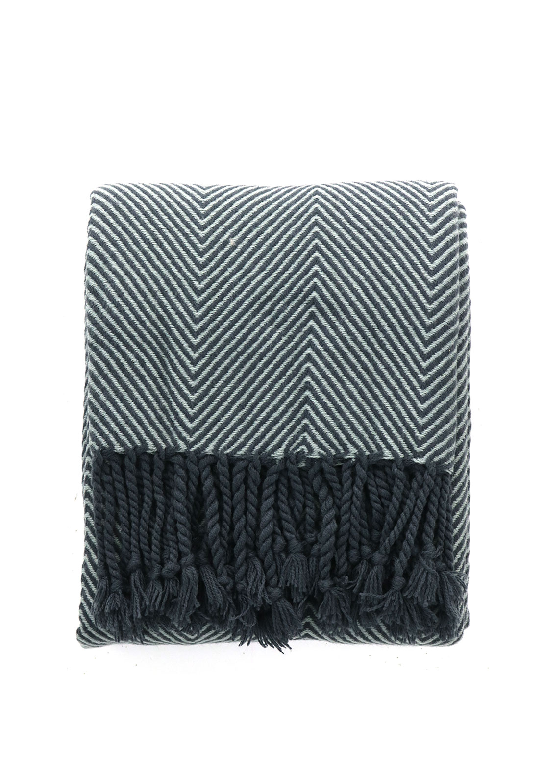 Scatterbox Chevron Throw 130 x 180cm, Grey and Navy
