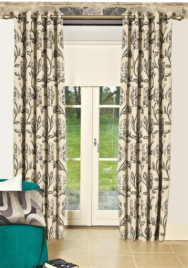 Scatterbox Maisey Eyelet Lined Ready-Made Curtains, Natural