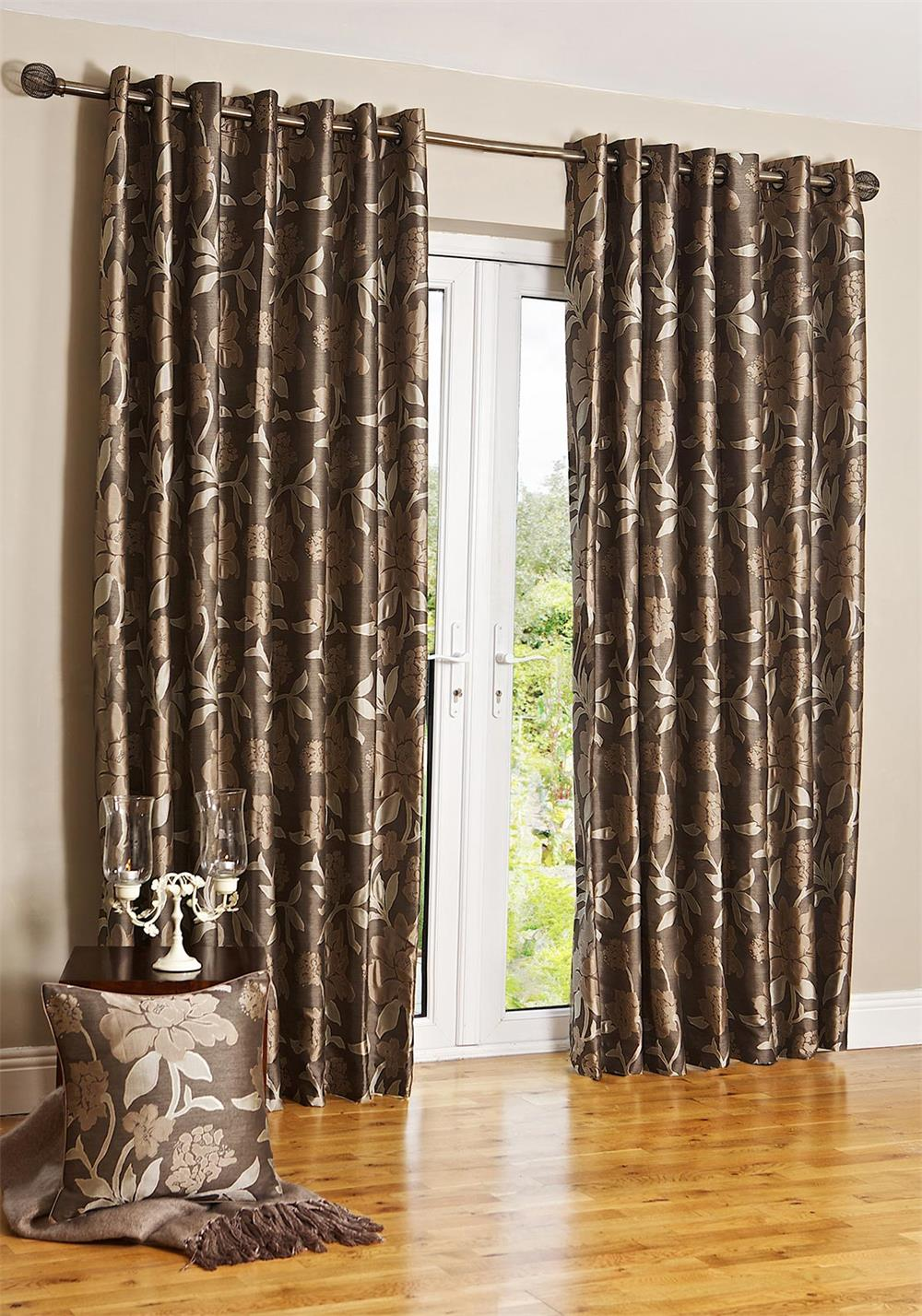 Scatterbox Wisteria Eyelet Fully Lined Ready-Made Curtains, Latte