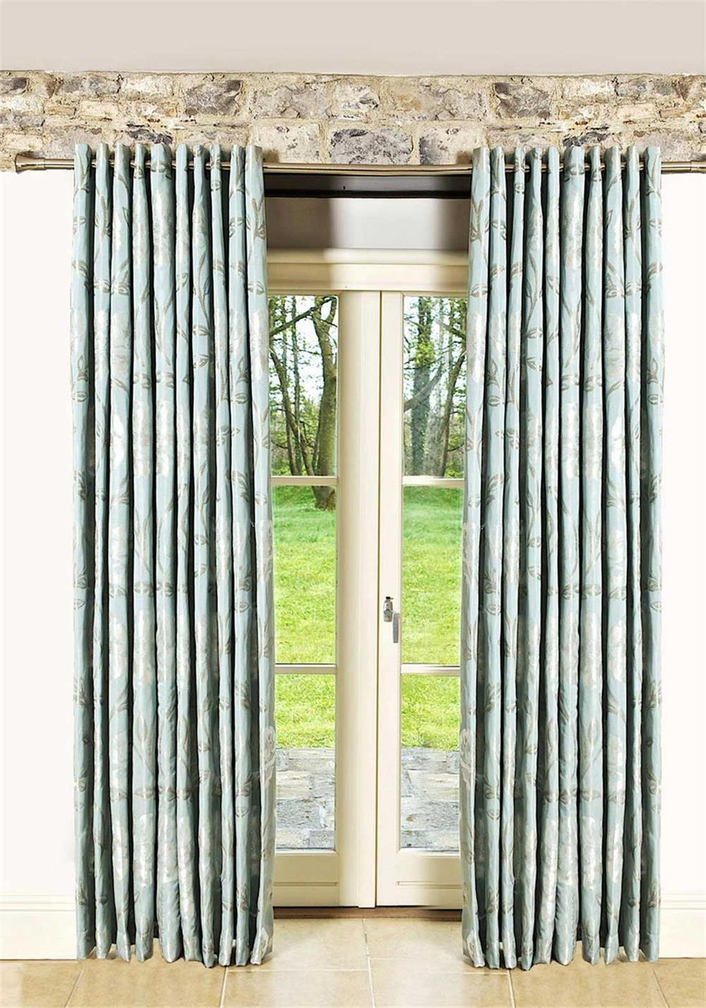 Scatterbox Maisey Eyelet Fully Lined Ready-Made Curtains, Duck Egg Blue