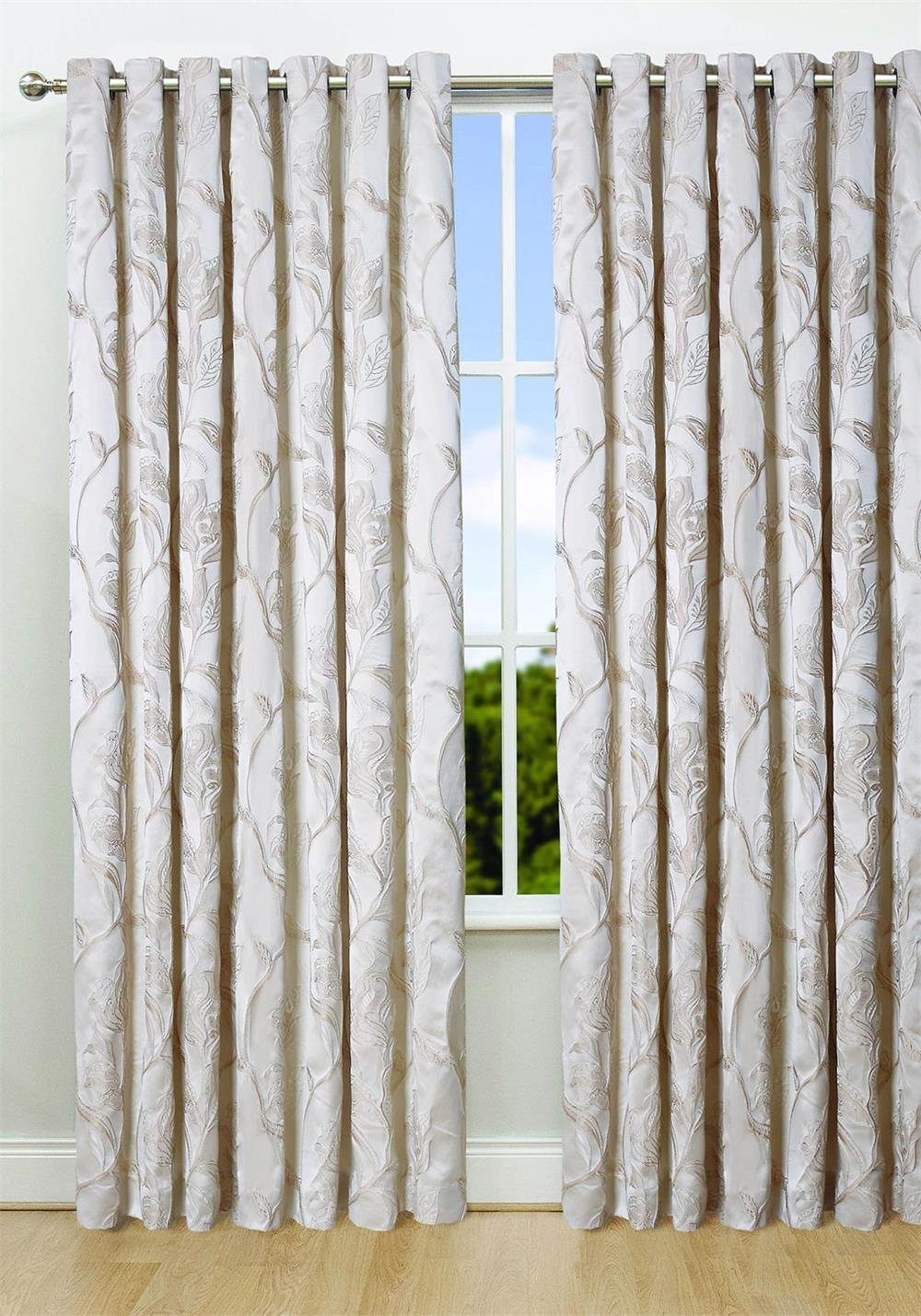Scatterbox Chelsea Ready Made Eyelet Top Curtains, Ivory