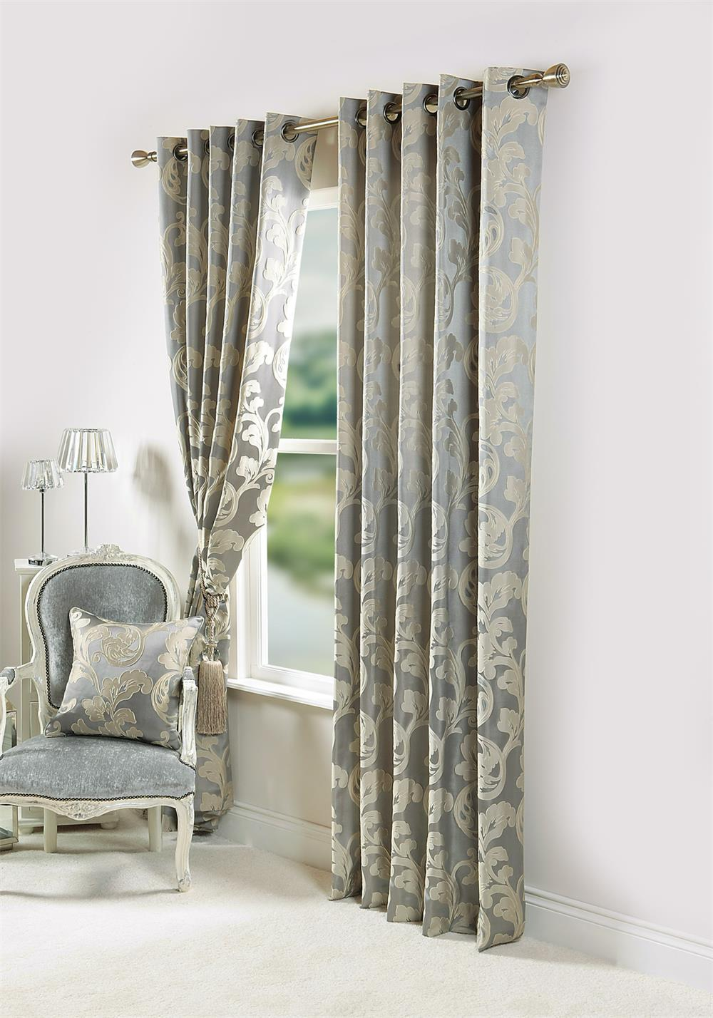 Scatterbox Sateen Lined Toledo Readymade Eyelet Curtains, Silver