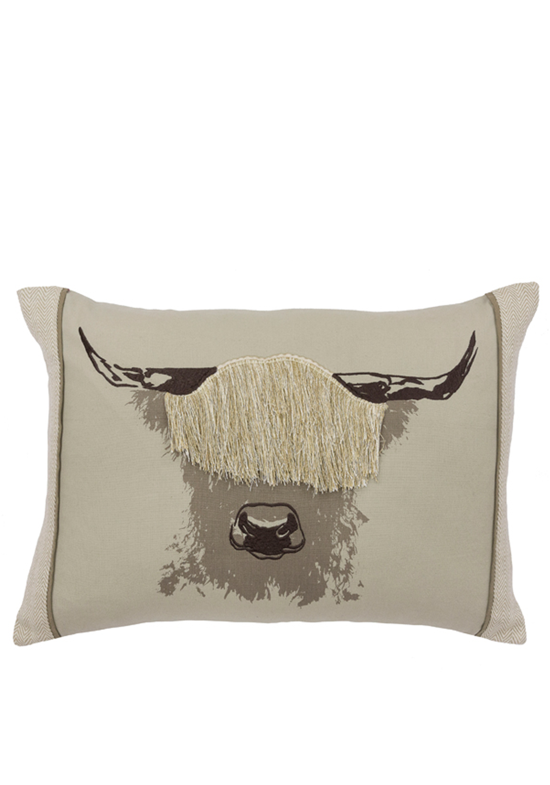 Scatterbox Angus 3D Bull Feather Filled Cushion, 35 x 50cm Beige