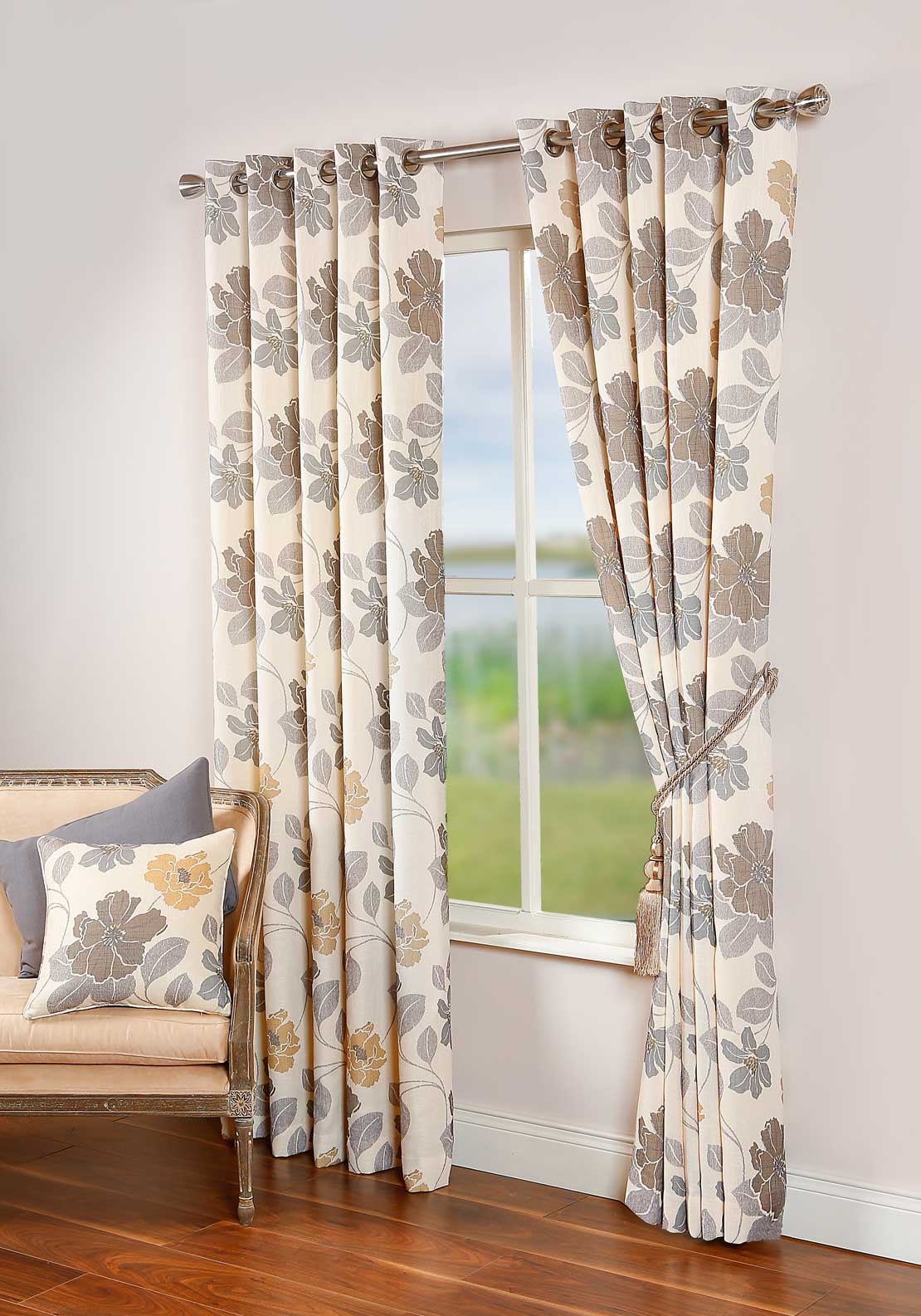 Scatterbox Celine Floral Fully Lined Ready-Made curtains, 66 X 72in, Ochre