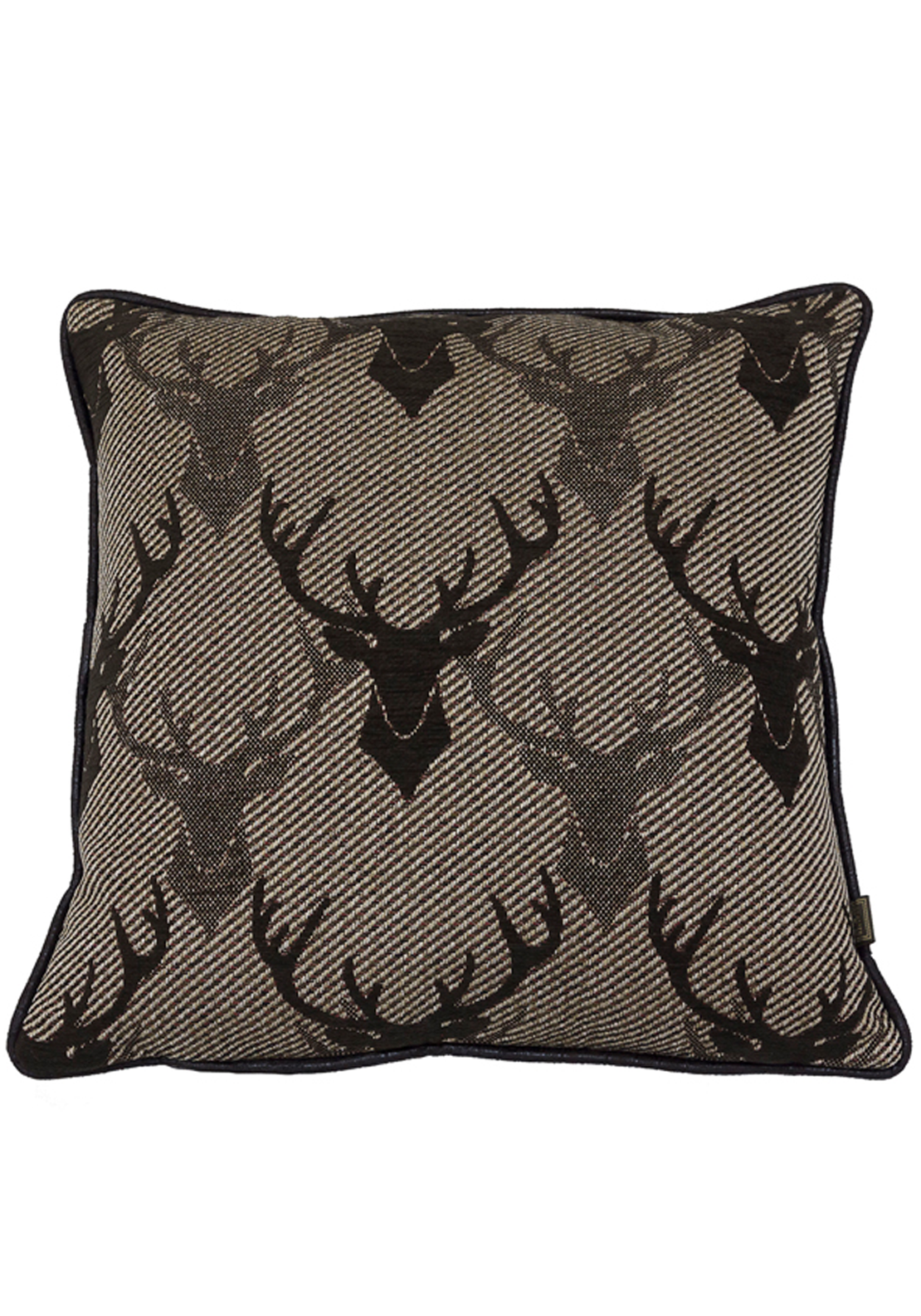 Scatterbox Stag Allover Woven Jacquard Feather Filled Cushion, 45 x 45cm Brown