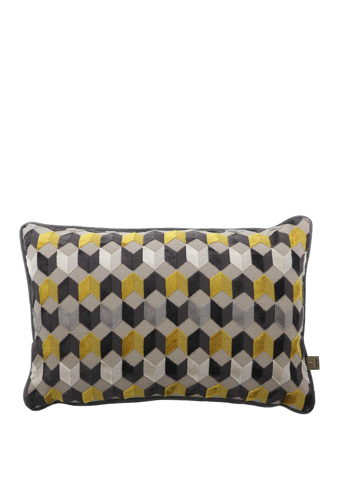 Scatterbox Kingsley Velour Cushion Grey & Saffron 35 x 50cm