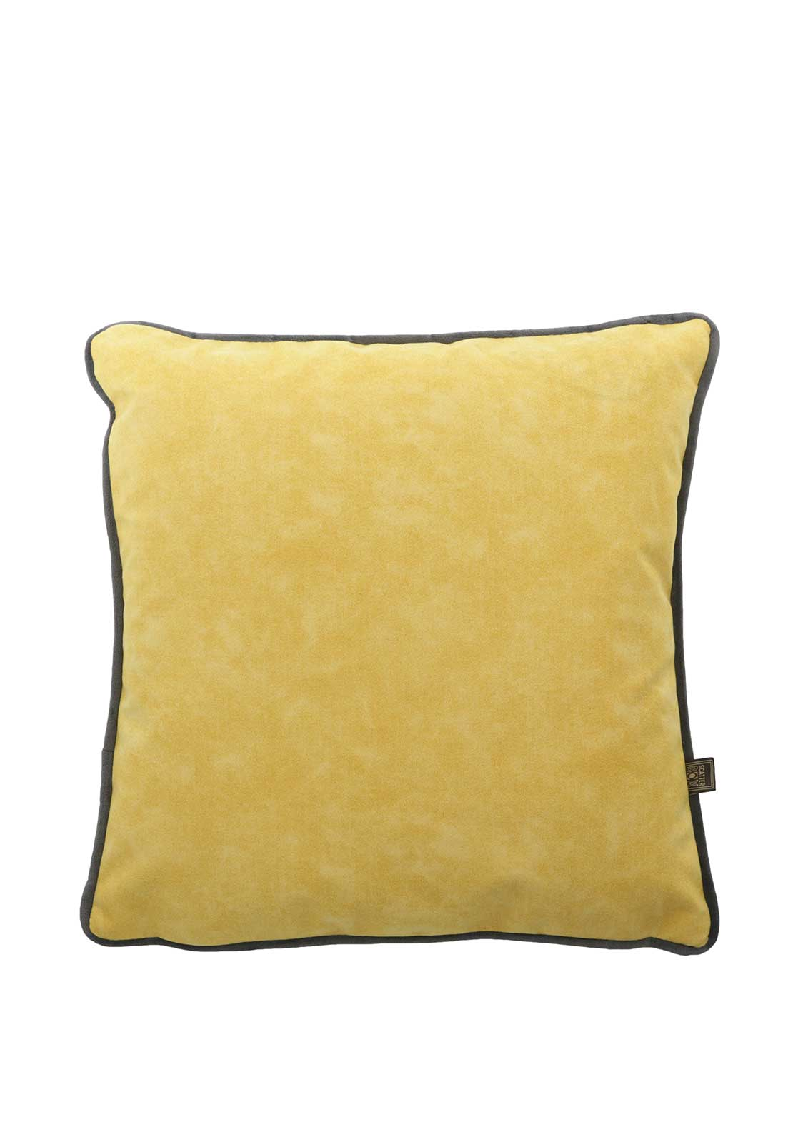 Scatterbox Velvet Two Tone Cushion, Charcoal & Yellow
