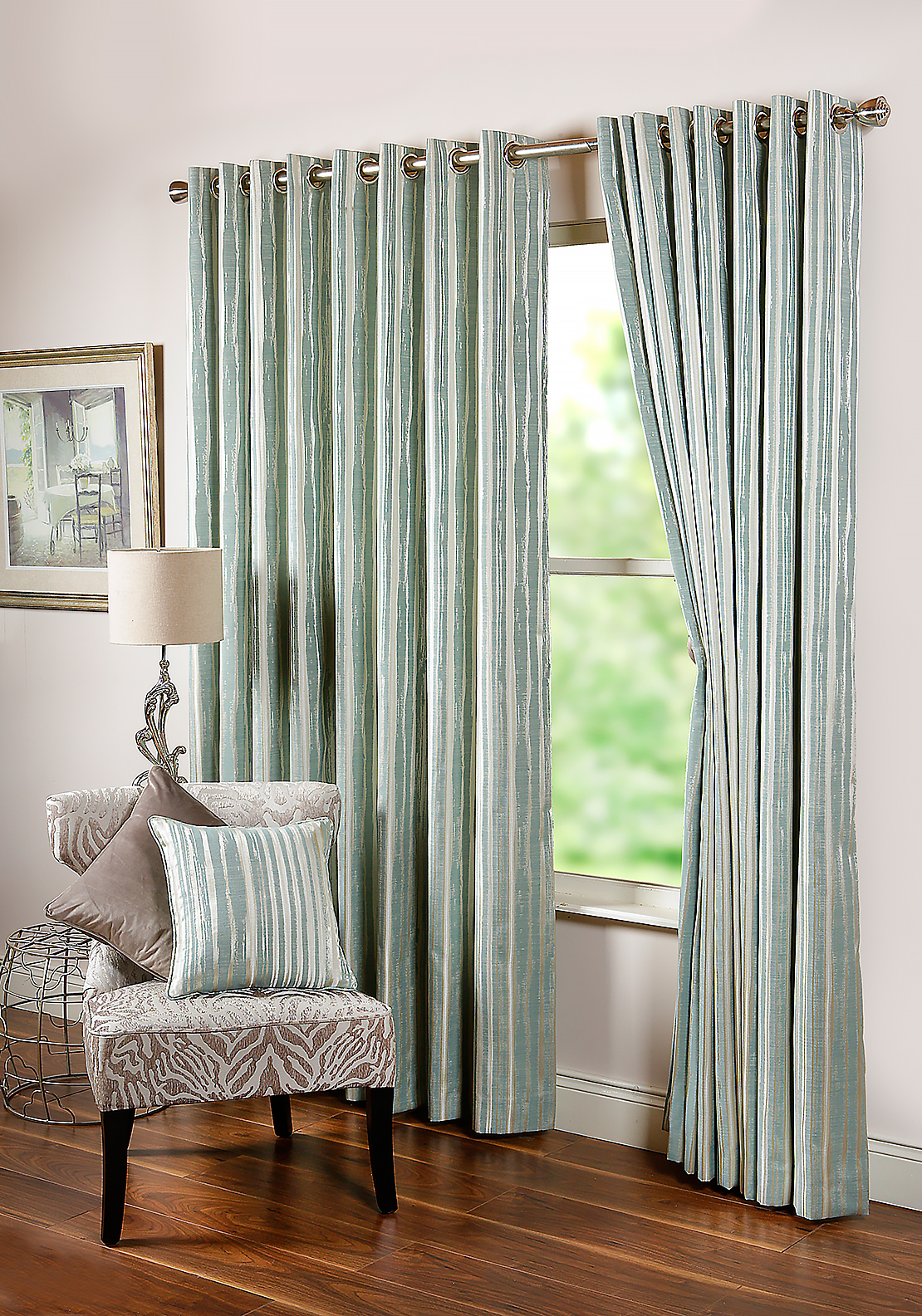 "Scatterbox Dawn Abstract Striped Fully Lined Eyelet Curtains 110 x 90"", Duck Egg Blue"