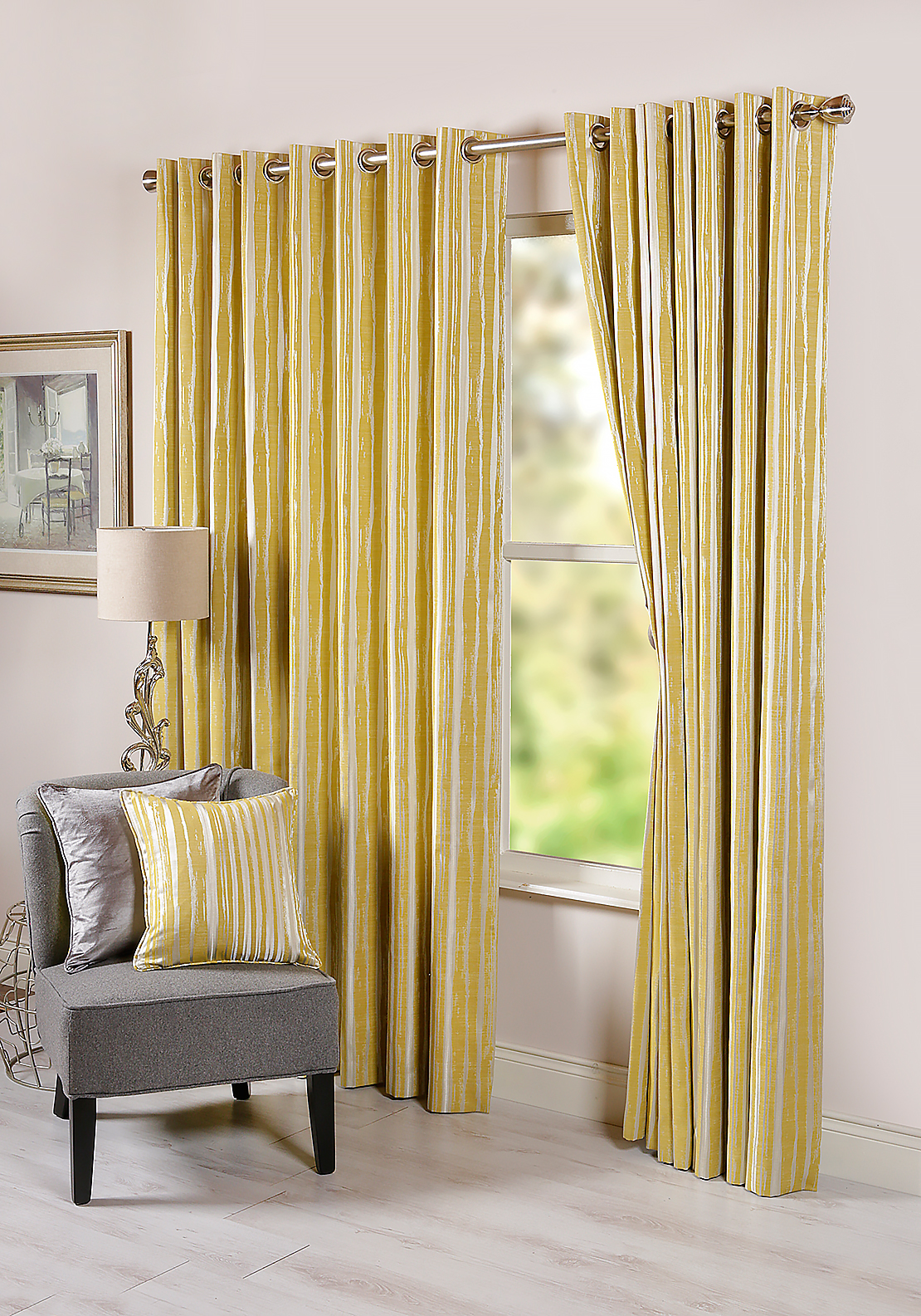 "Scatterbox Dawn Abstract Striped Fully Lined Eyelet Curtains 110 x 90"", Yellow"