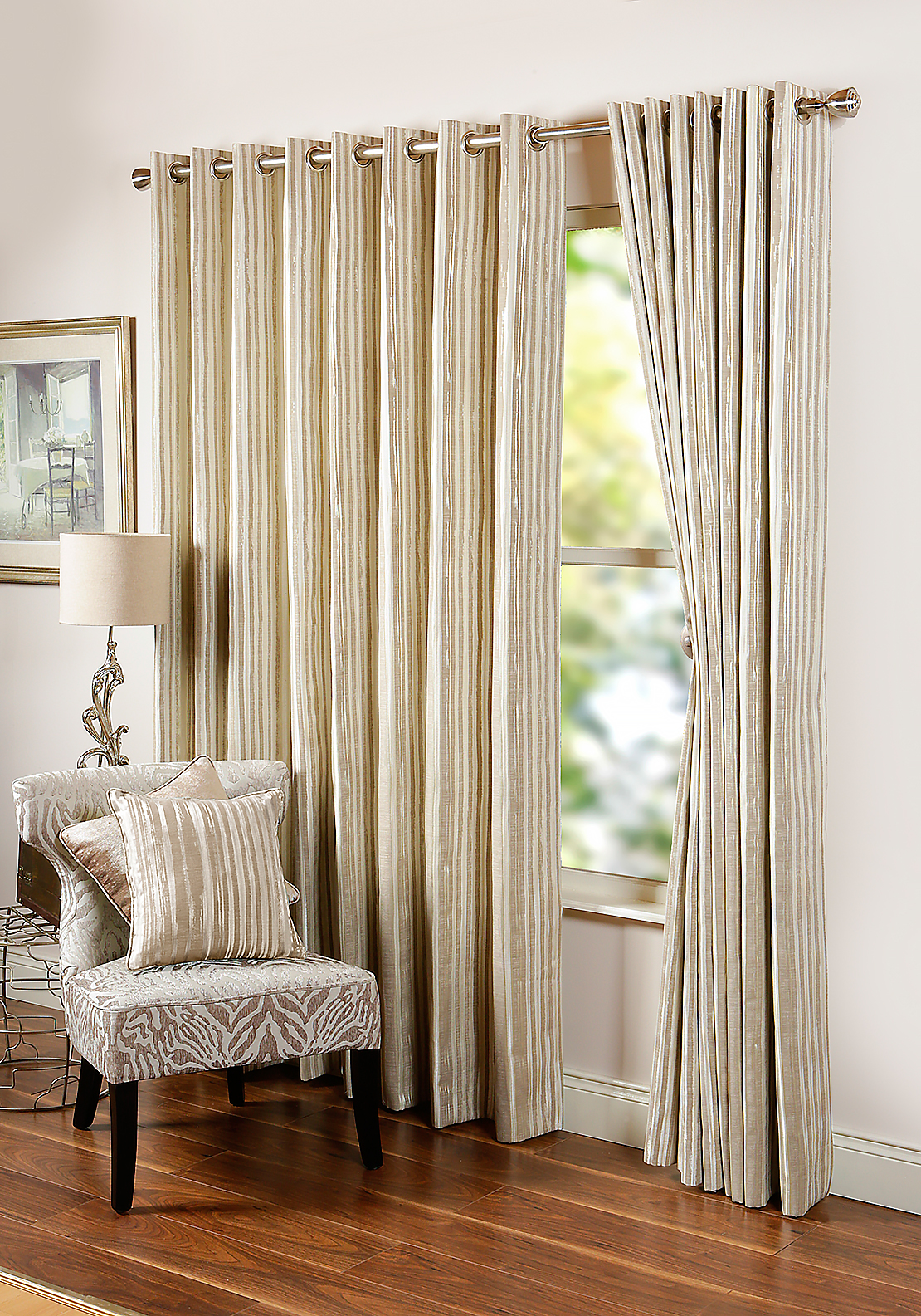 "Scatterbox Dawn Abstract Striped Fully Lined Eyelet Curtains 110 x 90"", Natural"