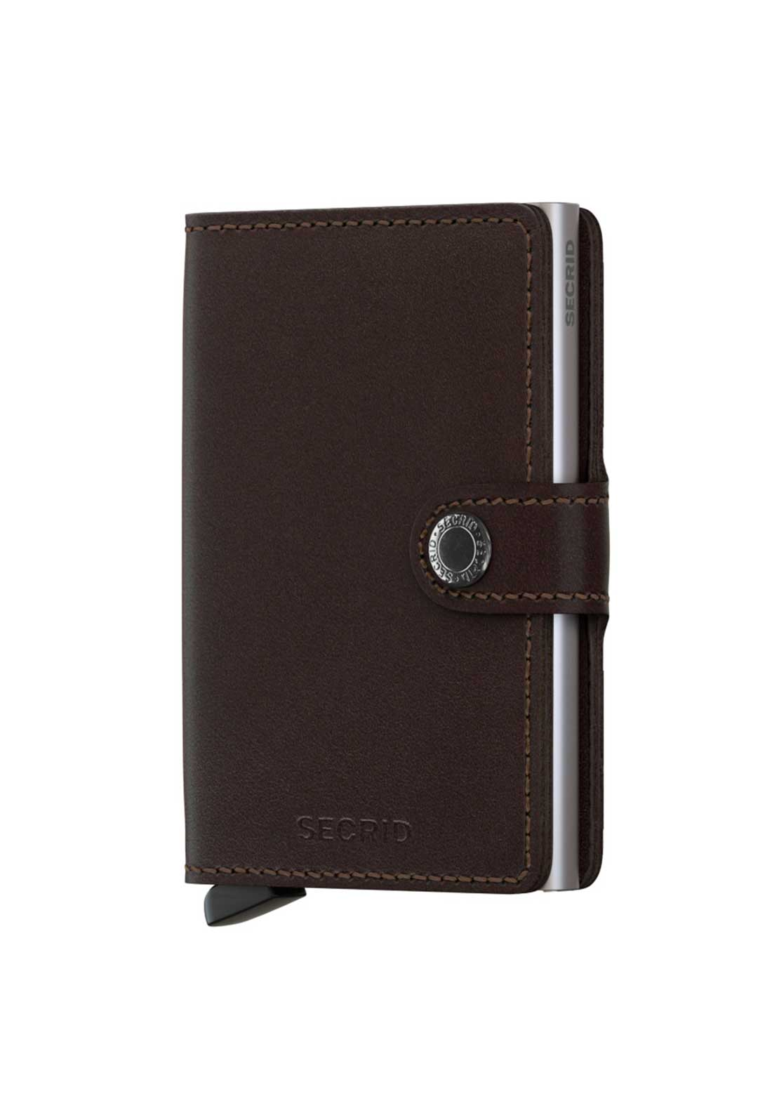 Secrid Plain Black Leather Cardprotector Miniwallet Dark Brown