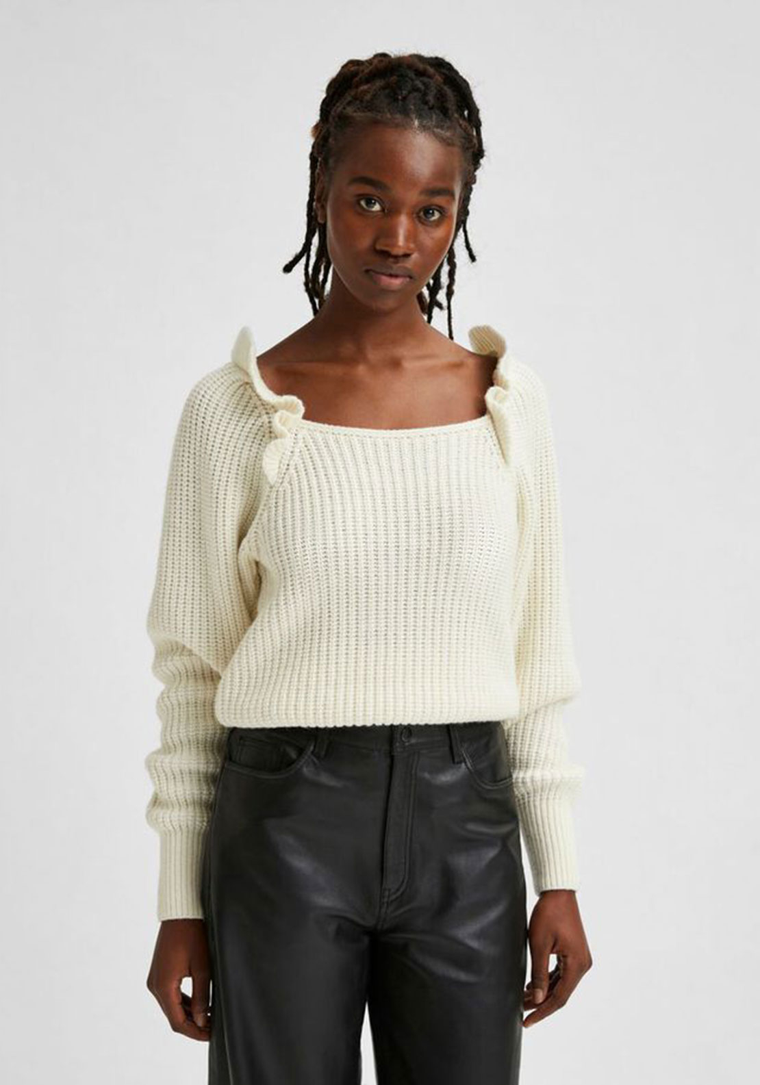 Selected Femme Tiana Wool Ruffle Knit Jumper, White