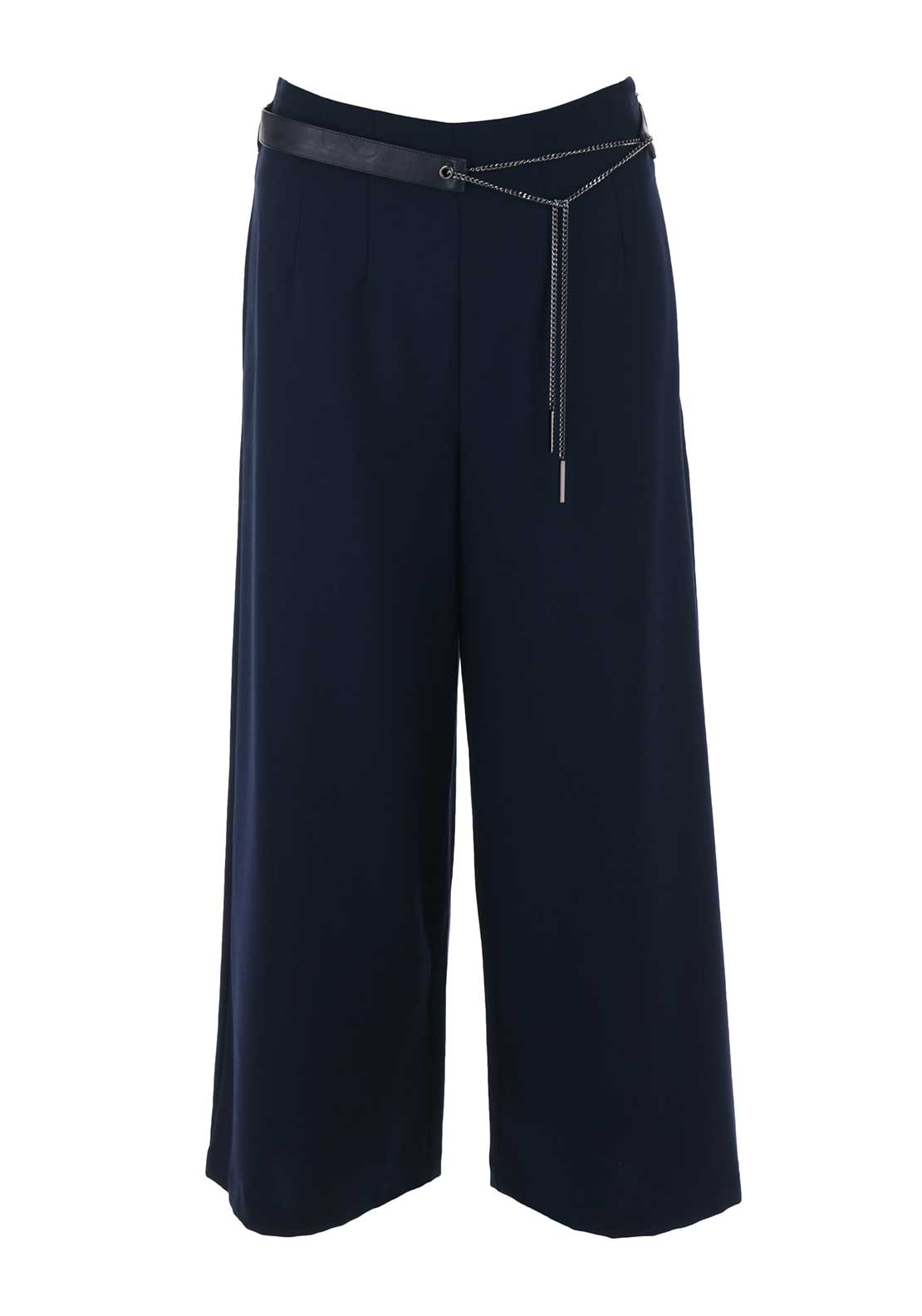 Silvan Heach Belted Culotte Trousers, Navy