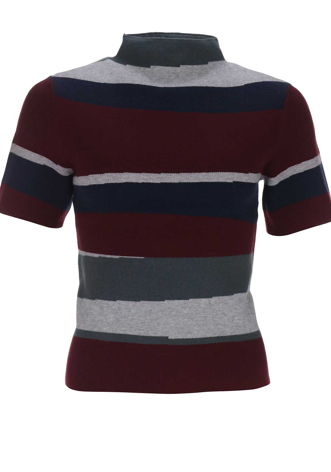 Silvian Heach Striped High Neck Top, Multi-Coloured