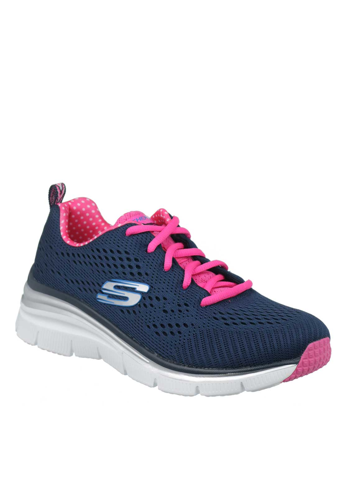 Skechers Womens Fashion Fit Statement Piece Trainers, Navy and Pink