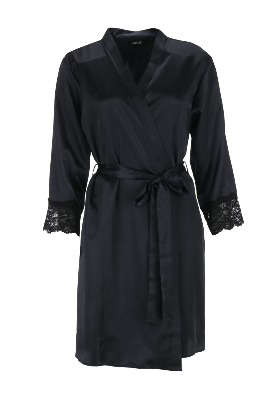 Gaspe Lace Trim Satin Dressing Gown, Black
