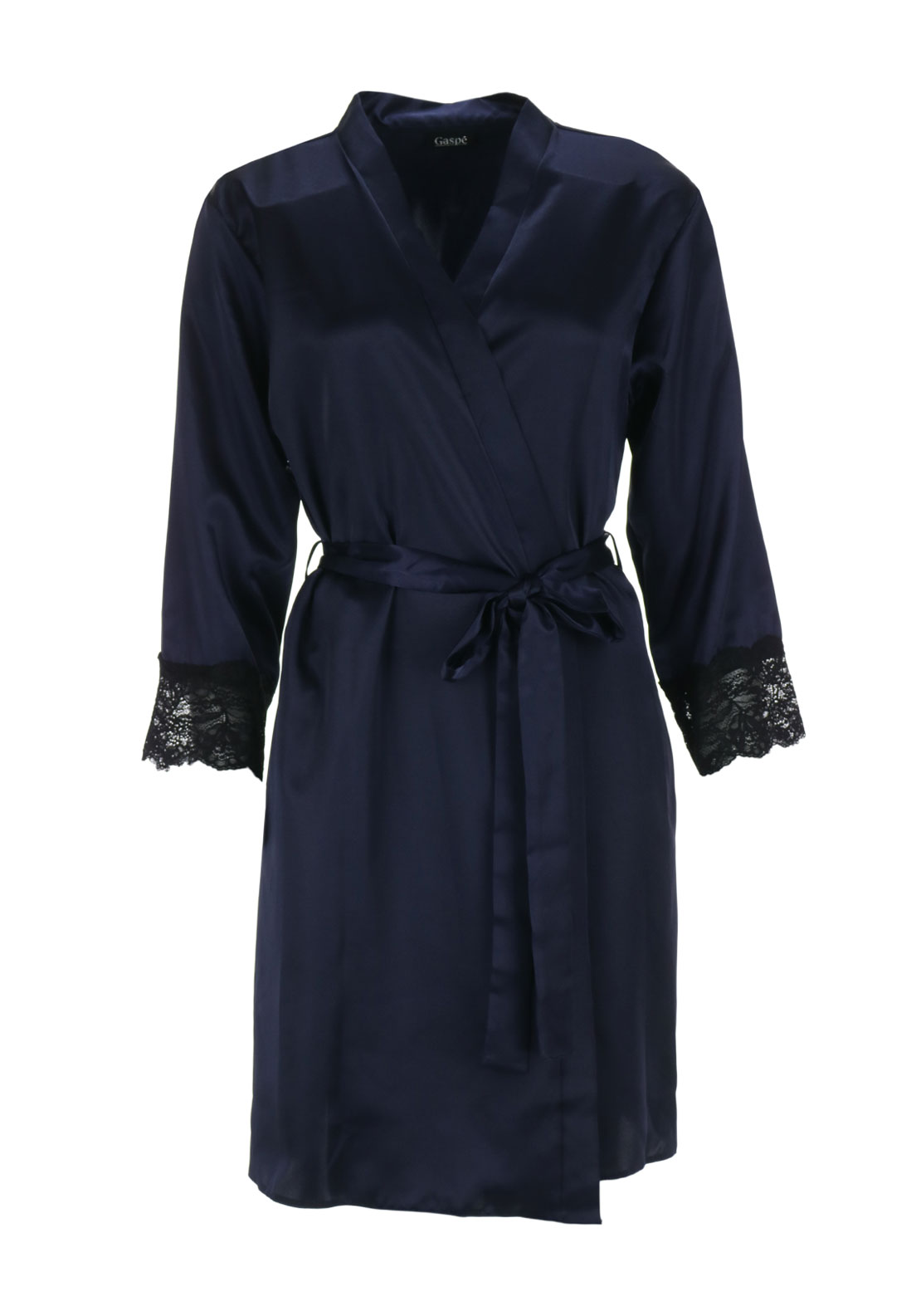 Gaspe Lace Trim Satin Dressing Gown, Navy