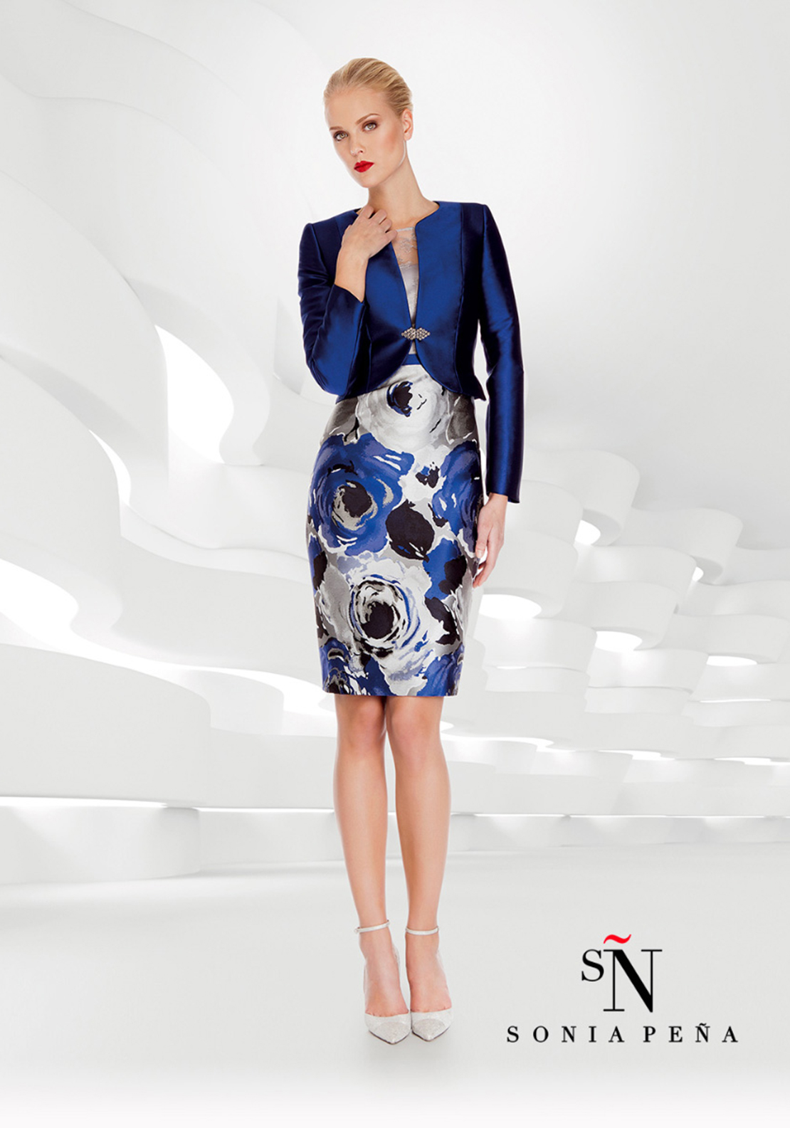 Sonia Pena Floral Print Dress & Jacket Outfit, Blue