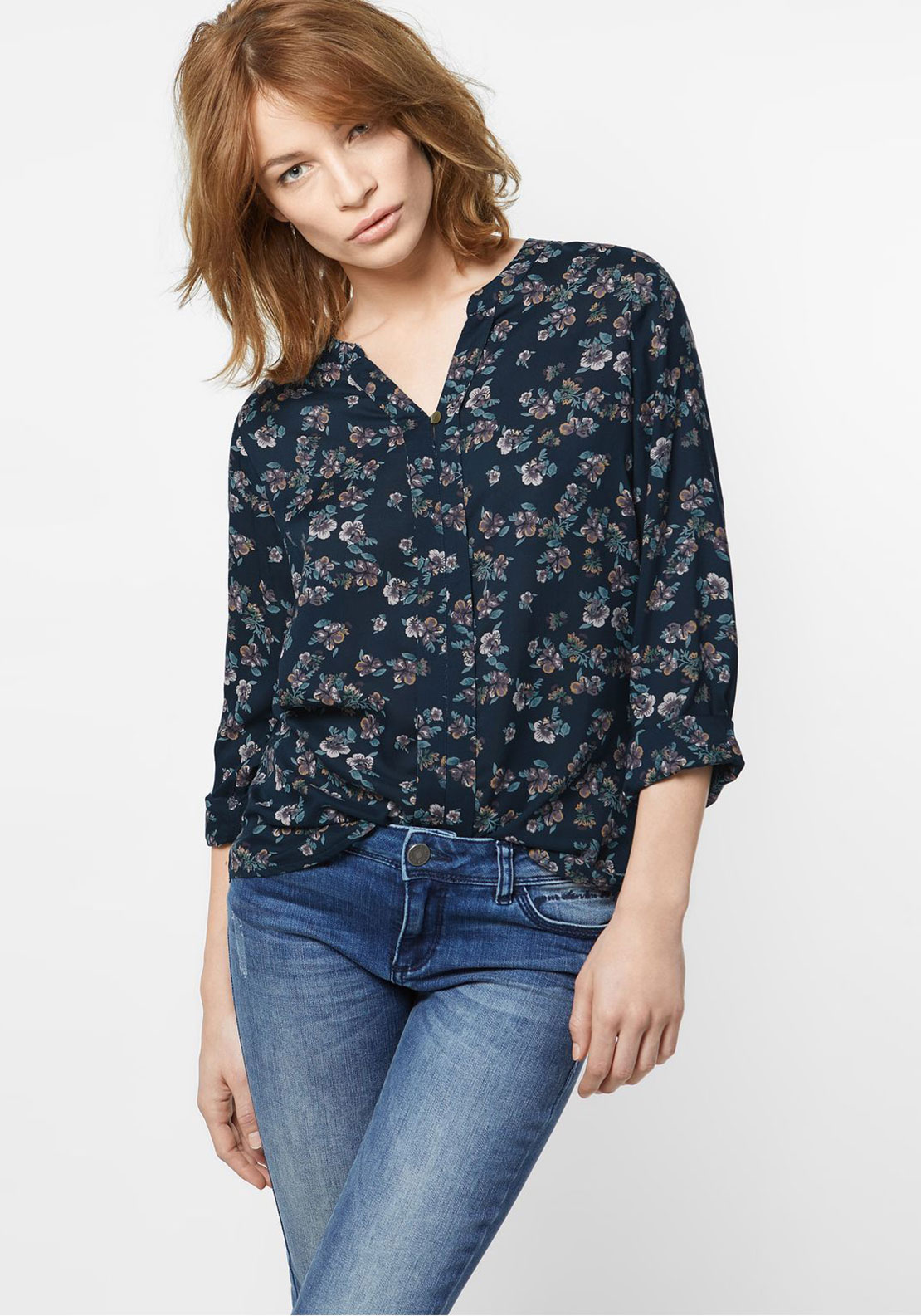 Street One Floral Print Blouse, Navy
