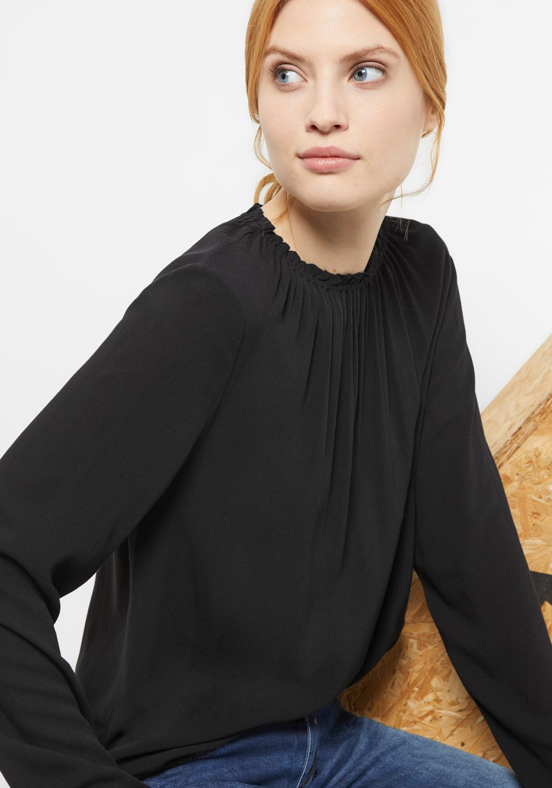 Street One Ruched Neck Top, Black